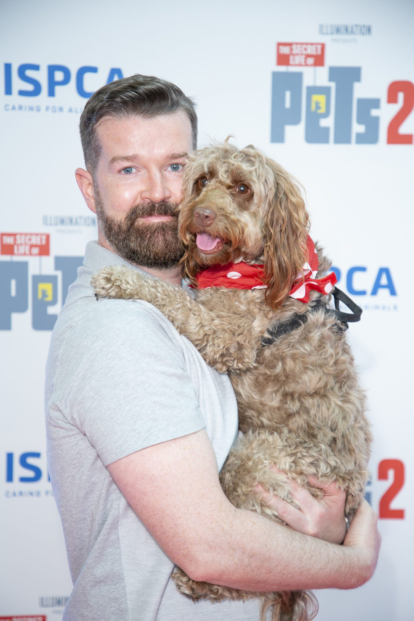 Dave Burke & dog Murphy pictured at the Irish premiere screening of The Secret Life of Pets 2 at Odeon Point Square, Dublin hosted by Universal Pictures in association with the ISPCA. The Secret Life of Pets 2 is in cinemas from Friday May 24th. Photo: Anthony Woods