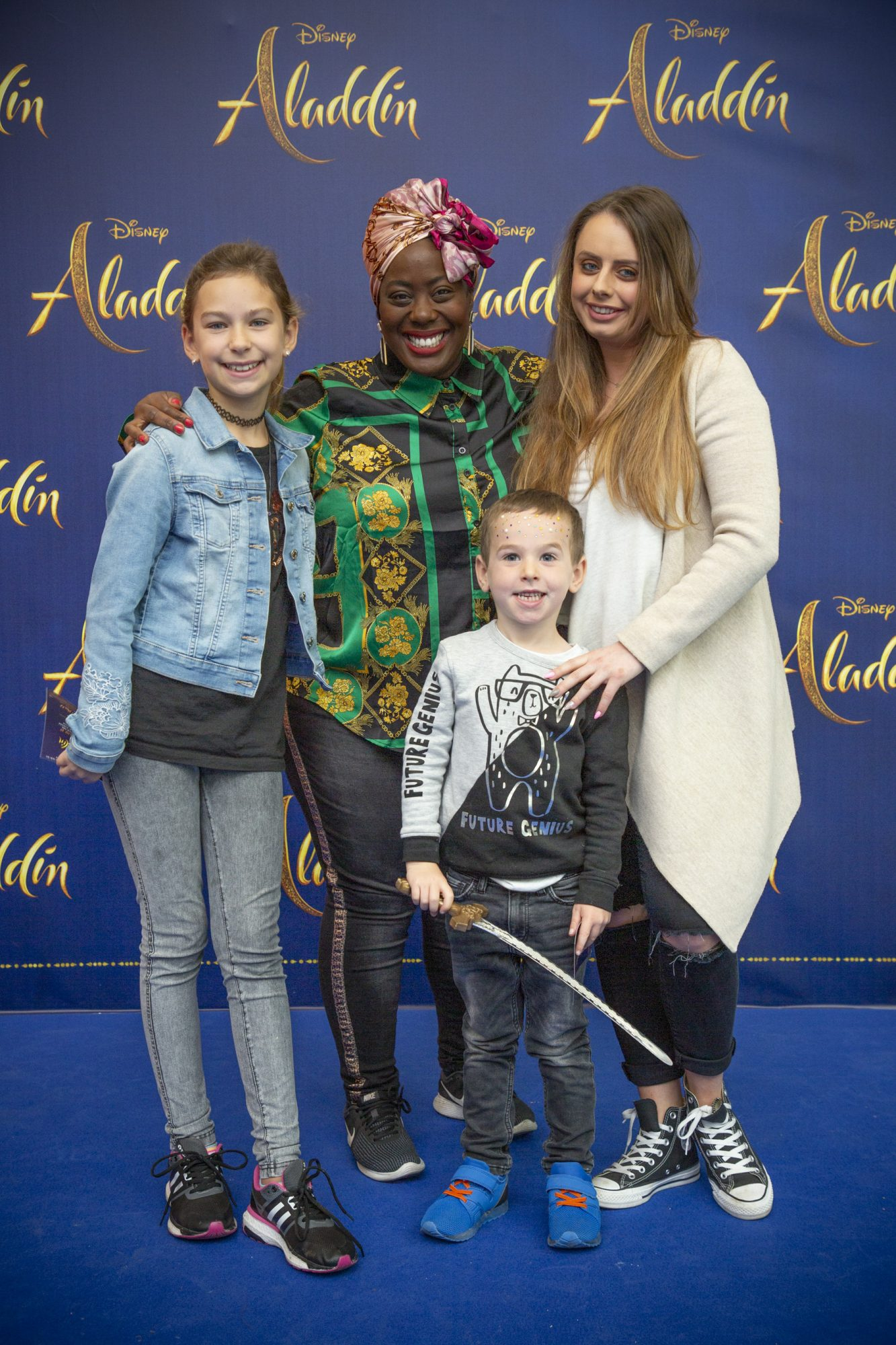 Nadine Reid with Ava, Alex Gilles & Sarah Ryan pictured at the special preview screening of Disney's 'Aladdin' at the Odeon Point Village. Photo: Anthony Woods