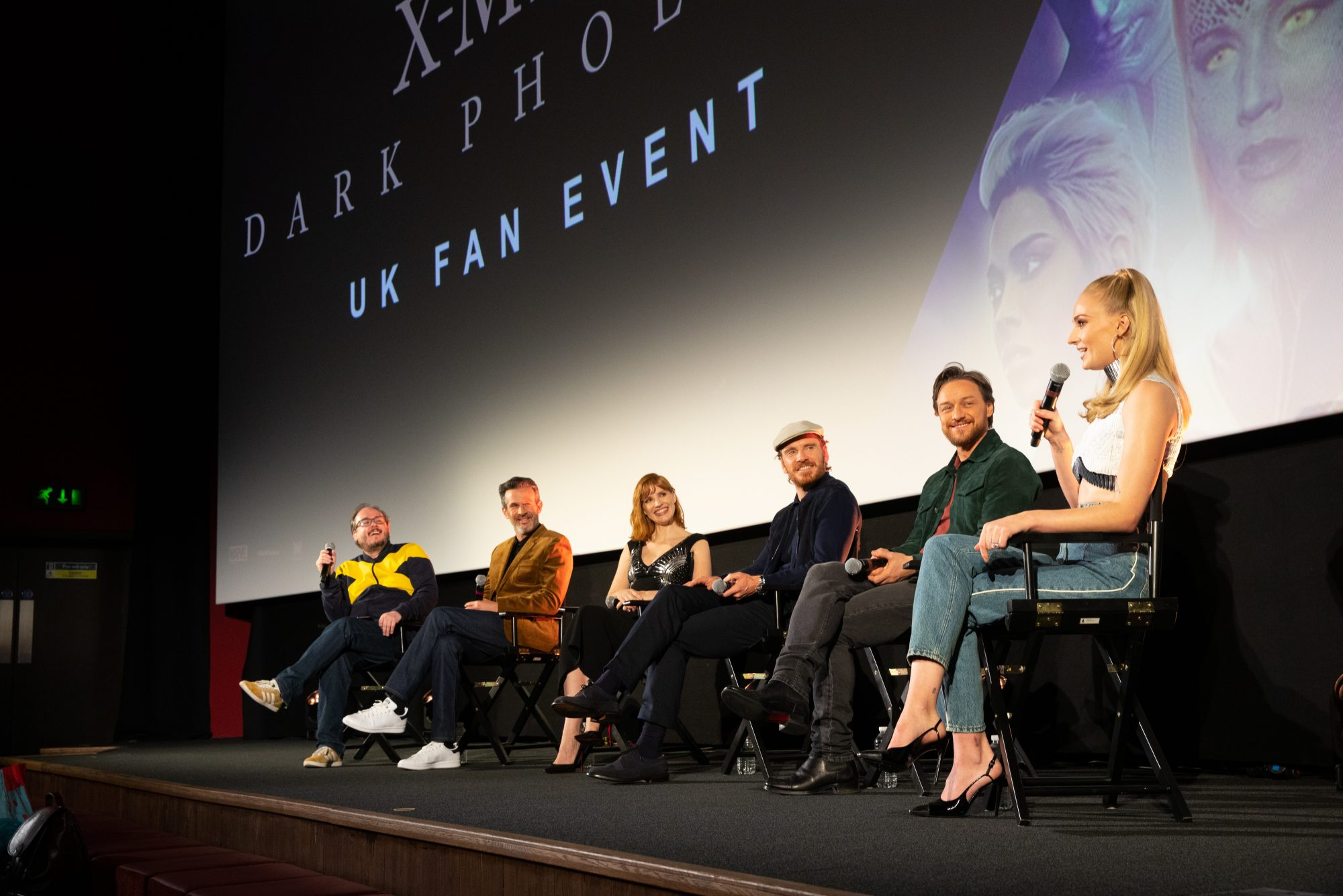"Michael Fassbender, Sophie Turner, Simon Kinberg, Jessica Chastain, and James McAvoy attend the UK Fan Event of <a href=""https://entertainment.ie/cinema/movie-reviews/x-men-dark-phoenix-7257/"">X-Men: Dark Phoenix</a> in London."