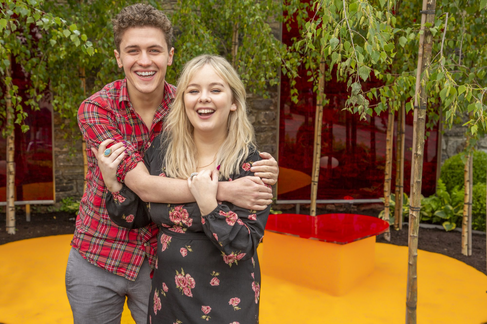 "Derry Girls actors Nicola Coughlan and Dylan Llewellyn pictured at the Yesterday, ""What If"" show garden at this year's Bloom Festival at the Phoenix Park in Dublin inspired by upcoming comedy ""Yesterday"".  From director Danny Boyle and screenwriter Richard Curtis, and starring Lily James, Yesterday is in cinemas nationwide from June 28th. Photo: Anthony Woods"
