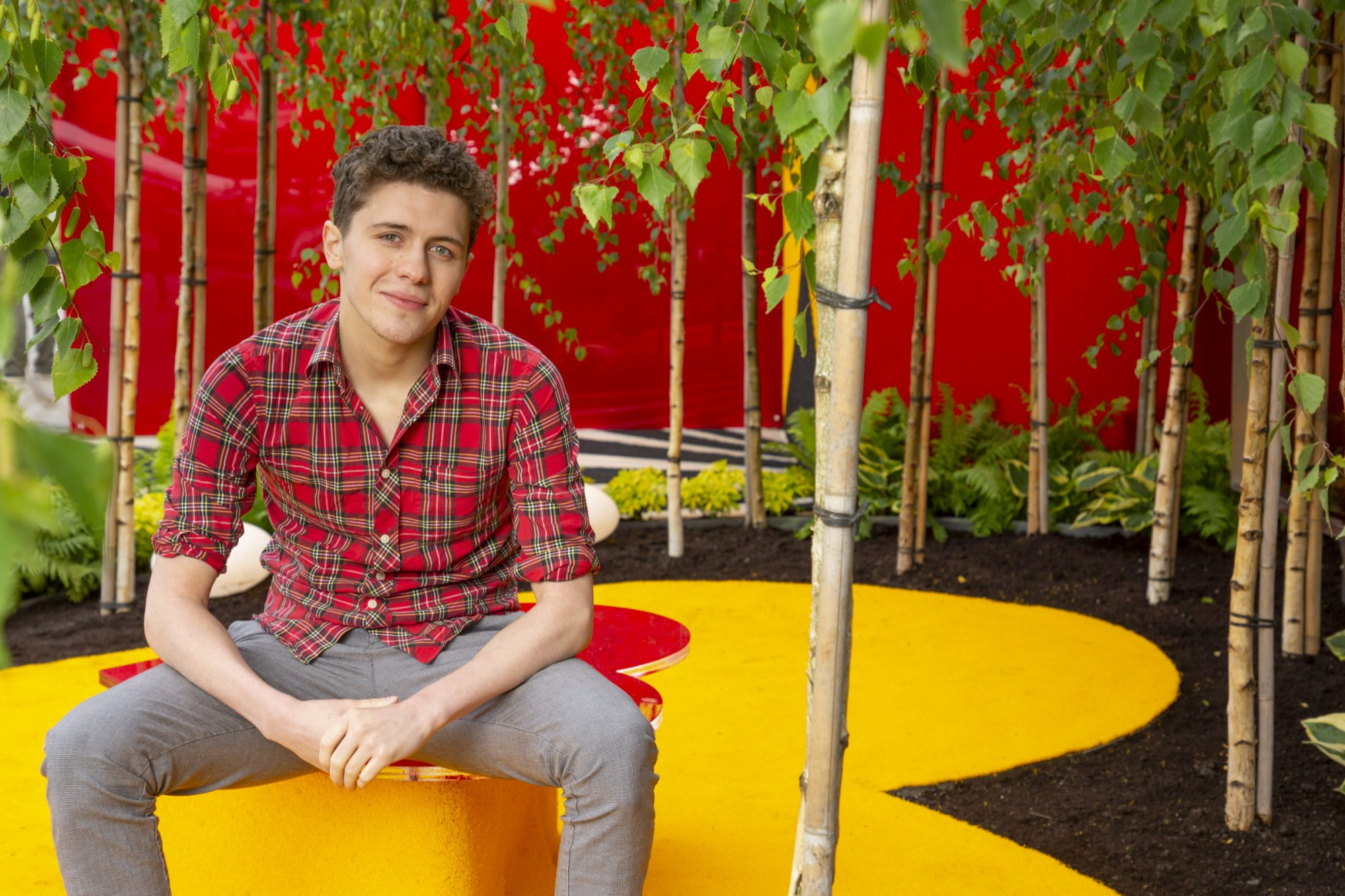 "Wednesday, 29th May, Derry Girls actor Dylan Llewellyn, pictured at the Yesterday, ""What If"" show garden at this year's Bloom Festival at the Phoenix Park in Dublin inspired by upcoming comedy ""Yesterday"".  From director Danny Boyle and screenwriter Richard Curtis, and starring Lily James, Yesterday is in cinemas nationwide from June 28th. Photo: Anthony Woods"