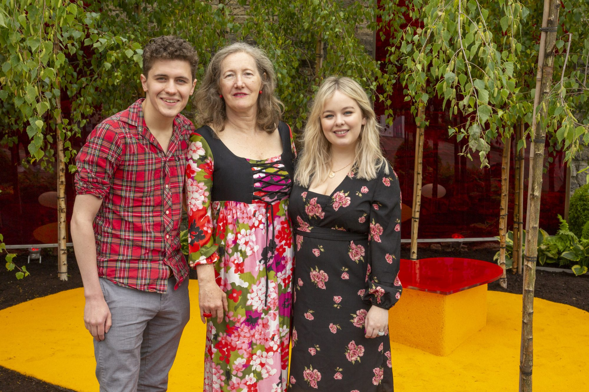 "Wednesday, 29th May, Derry Girls actors Nicola Coughlan and Dylan Llewellyn, pictured with Garden designer Elma Fenton at the Yesterday, ""What If"" show garden at this year's Bloom Festival at the Phoenix Park in Dublin inspired by upcoming comedy ""Yesterday"".  From director Danny Boyle and screenwriter Richard Curtis, and starring Lily James, Yesterday is in cinemas nationwide from June 28th Photo: Anthony Woods."