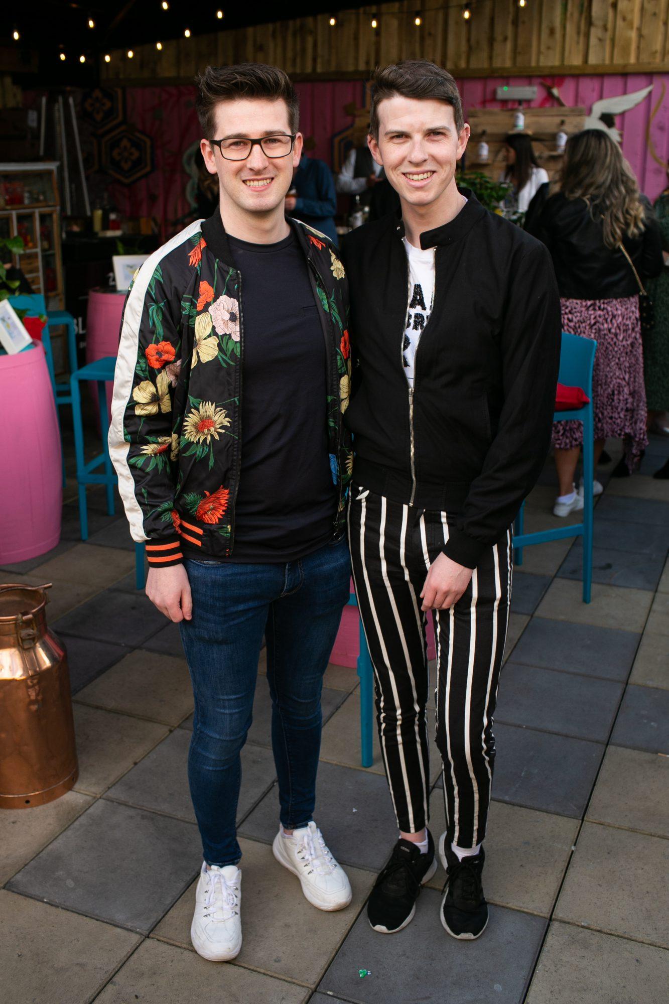 Ian Curran and Mikey O'Loughlin at the SuperValu Gin Garden held at Opium Rooftop Garden, Dublin.
