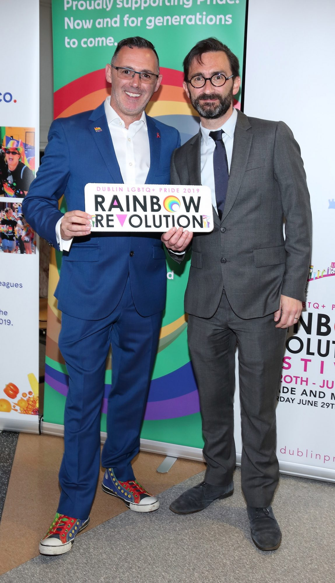 Eddie McGuinness and Jed Dowling pictured at the launch of the Dublin LGBTQ+ Pride Festival 2019 in partnership with platinum sponsor Tesco at the GPO, Dublin. Picture: Brian McEvoy Photography