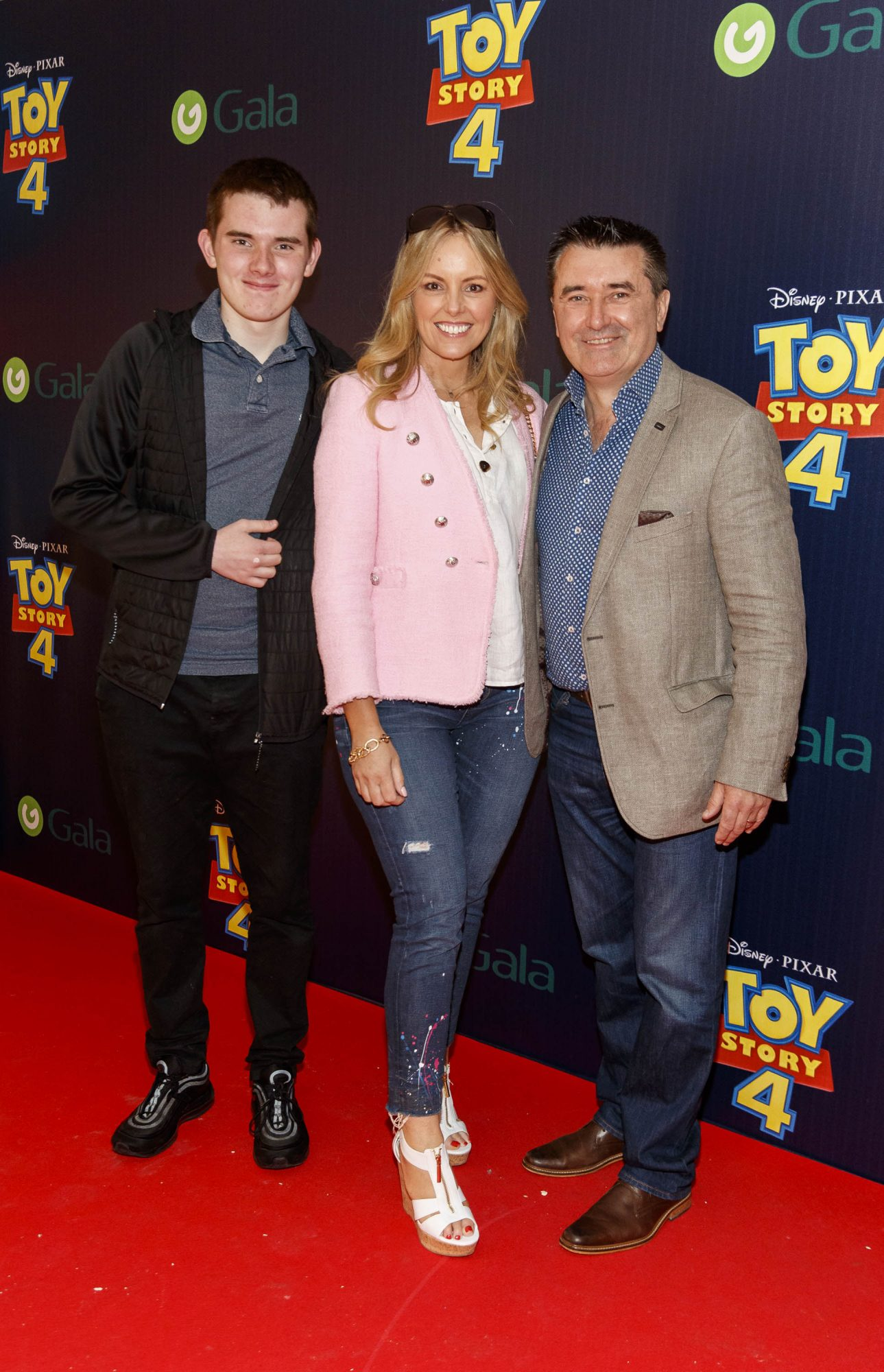 Jenny McCarthy and Martin King with son Alex (left) pictured at the special event screening of Disney Pixar's TOY STORY 4 in the Light House Cinema Dublin. Picture: Andres Poveda