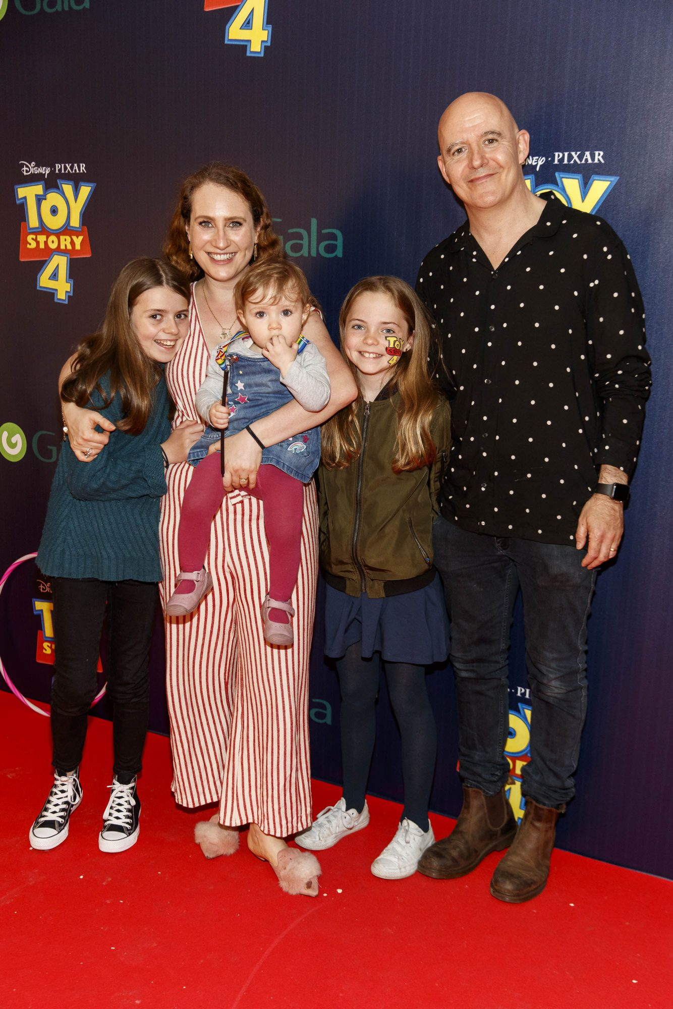 Sonia Harris and Conor Pope with family Molly, Ruby and Juliette pictured at the special event screening of Disney Pixar's TOY STORY 4 in the Light House Cinema Dublin. Picture: Andres Poveda