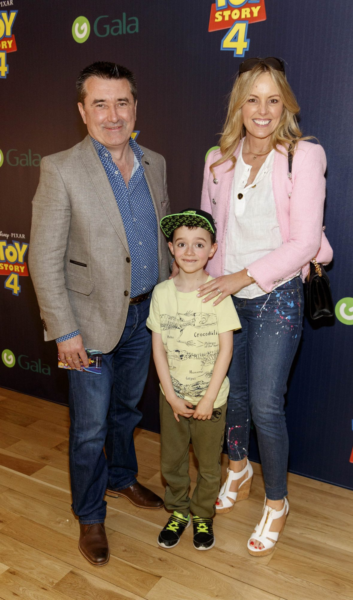 Glamorous gran Jenny McCarthy pictured with grandson Aaron and huband Martin King at the special event screening of Disney Pixar's TOY STORY 4 in the Light House Cinema Dublin. Picture: Andres Poveda
