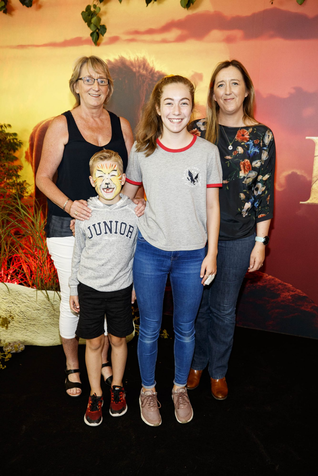 Angela Everit and Joanne Cassidy with Jacob (7) and Isabelle Floyd pictured at a special family screening of Disney's THE LION KING at the Odeon Point Village. Picture: Andres Poveda