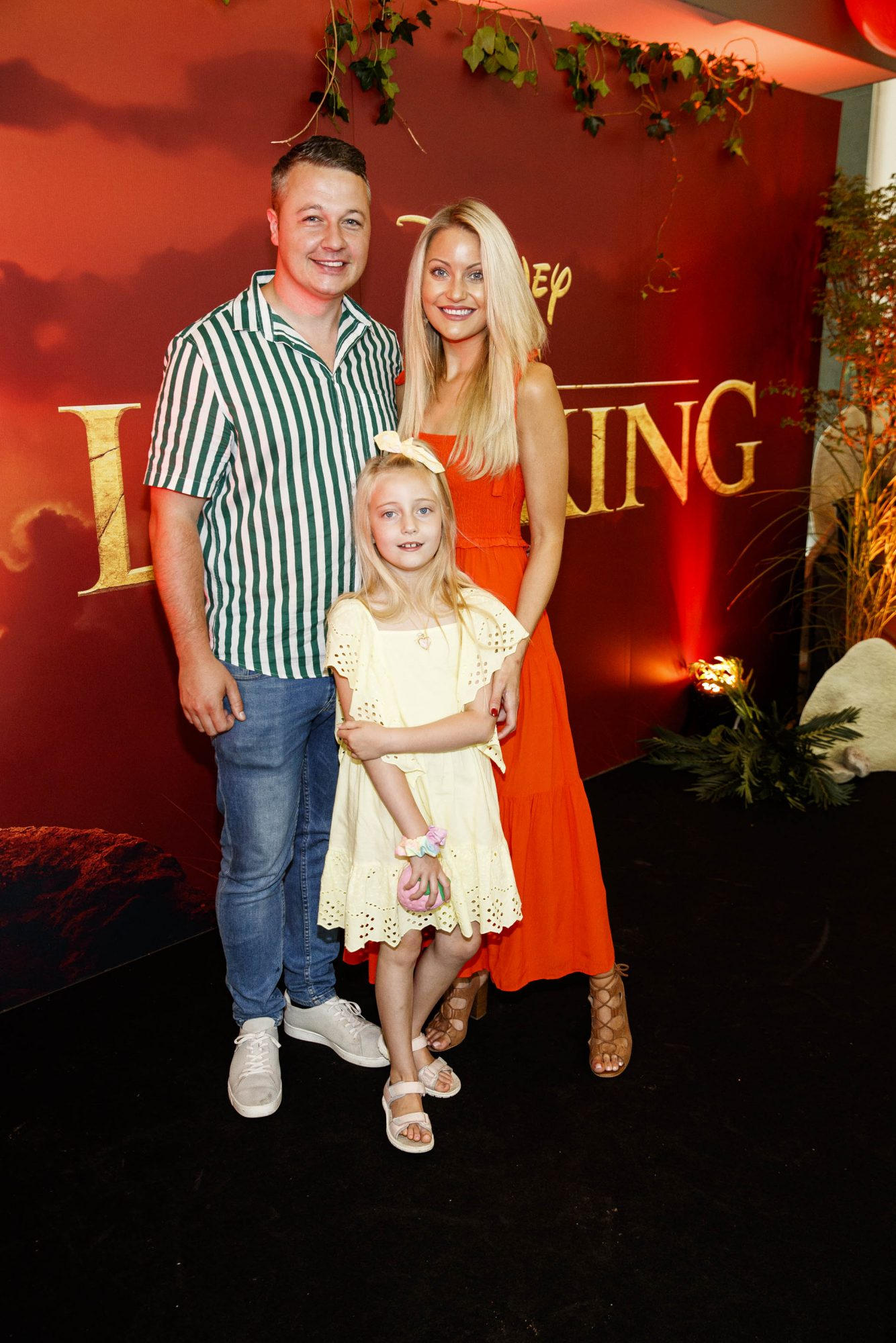 Keith Malone with Kerri Nicole Blanc and daughter Kayla pictured at a special family screening of Disney's THE LION KING at the Odeon Point Village. Picture: Andres Poveda