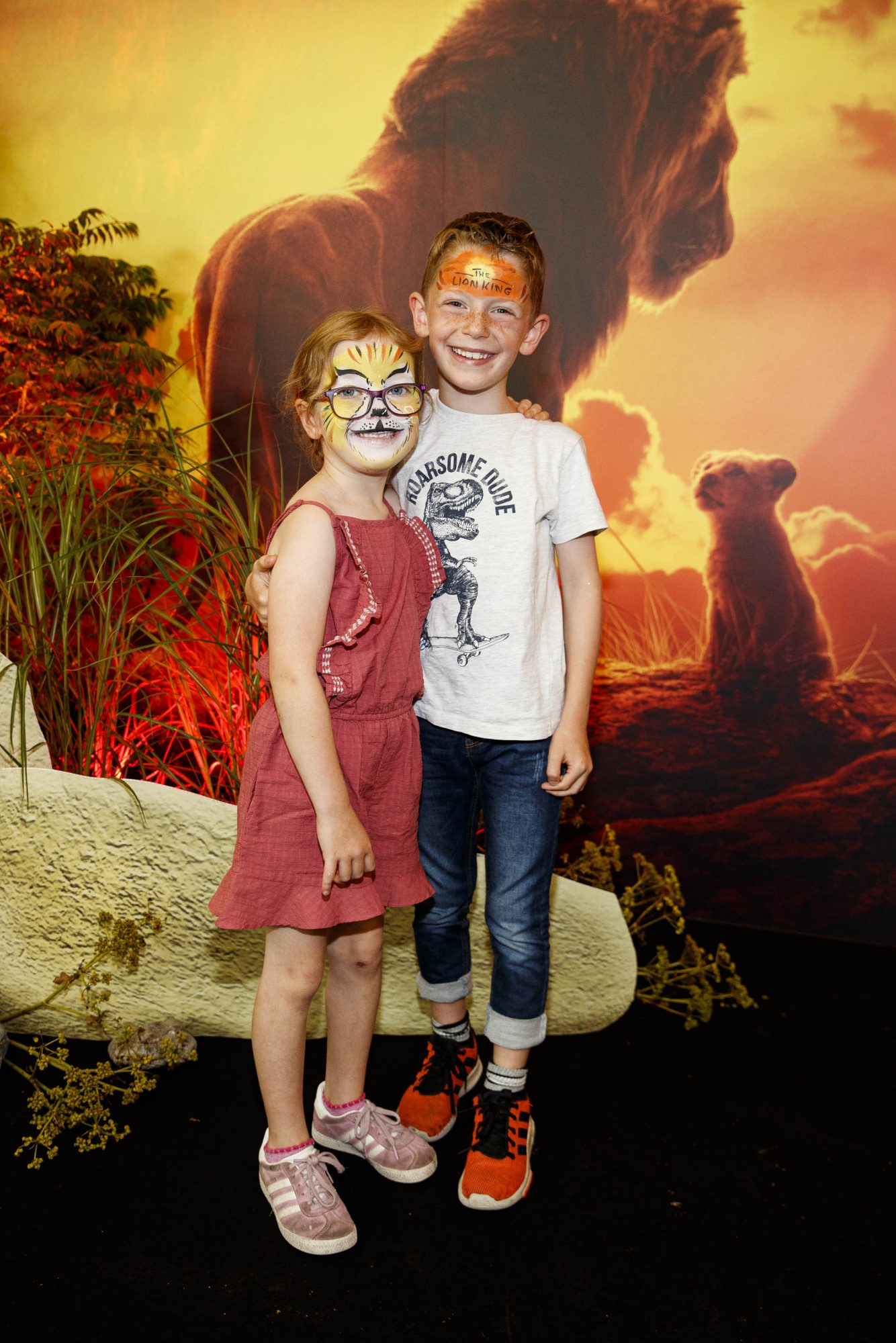 Alanah (5) and Alex Robert Finn (7) pictured at a special family screening of Disney's THE LION KING at the Odeon Point Village. Picture: Andres Poveda