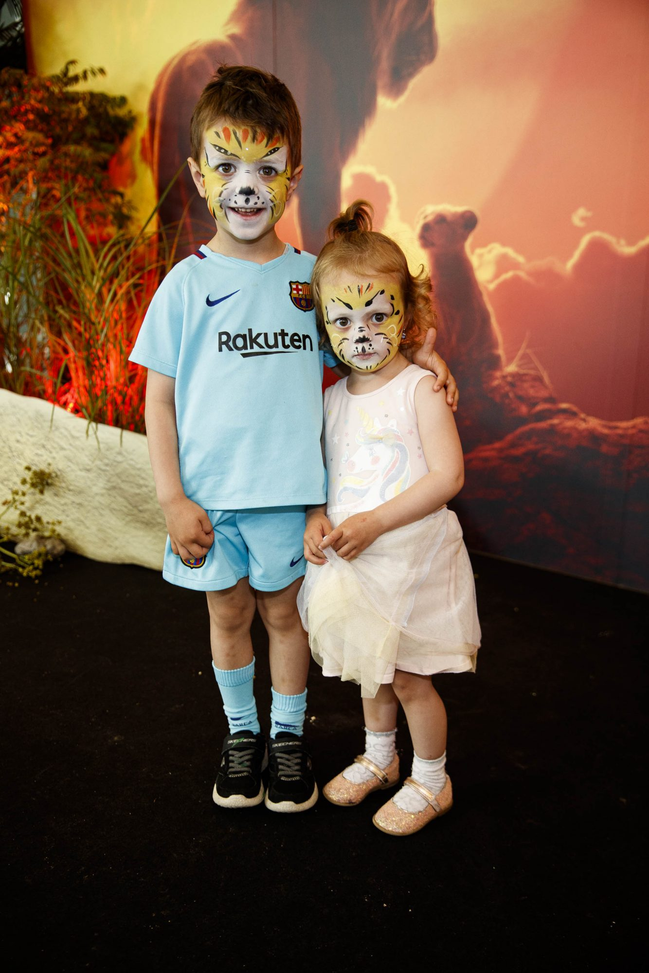 Sophia (2) Nikita Musteata (4) pictured at a special family screening of Disney's THE LION KING at the Odeon Point Village. Picture Andres Poveda