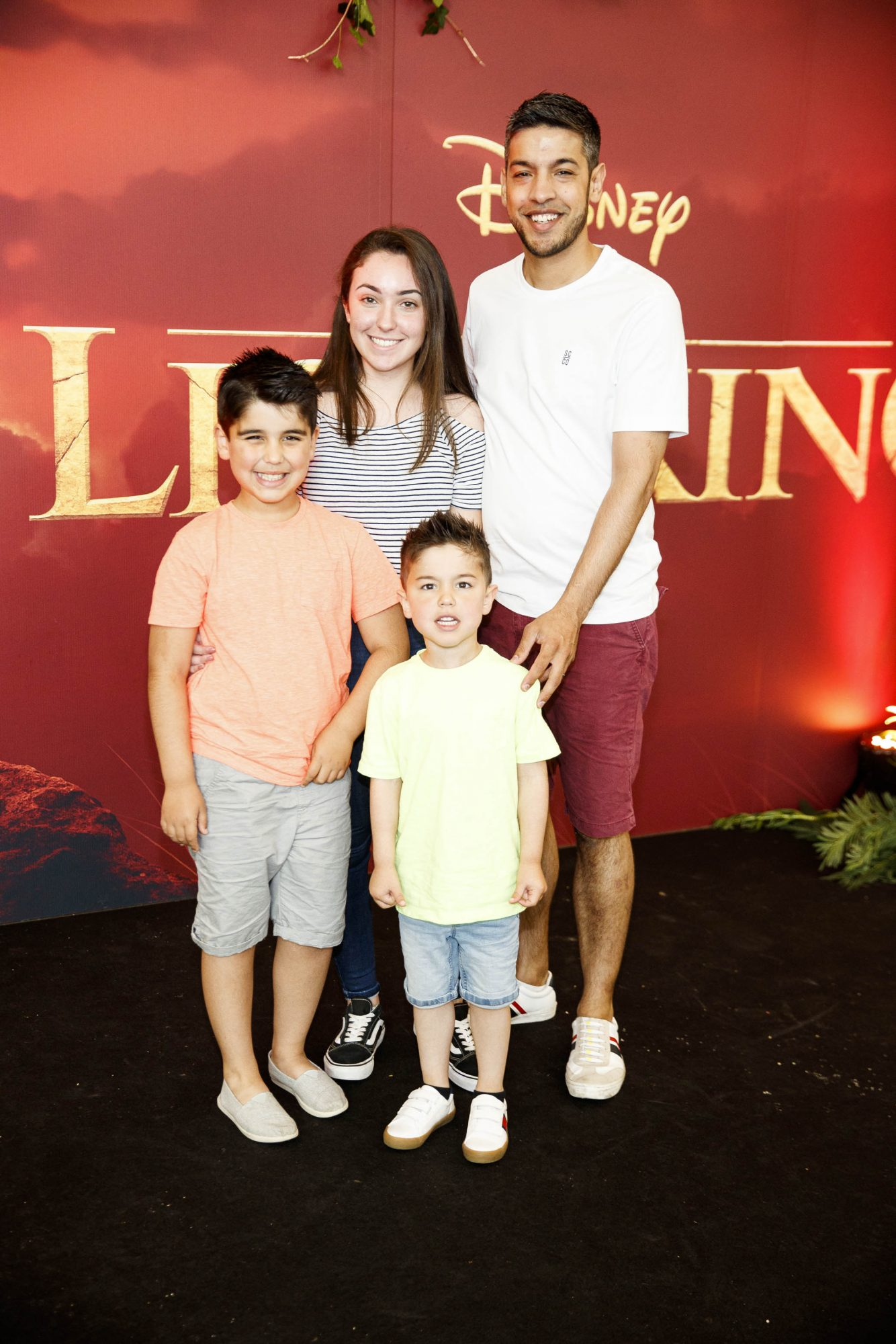 Lauren Gilsenan, Daniel Kaneswaran, Dylan (7) and Bobby (4) pictured at a special family screening of Disney's THE LION KING at the Odeon Point Village. Picture: Andres Poveda