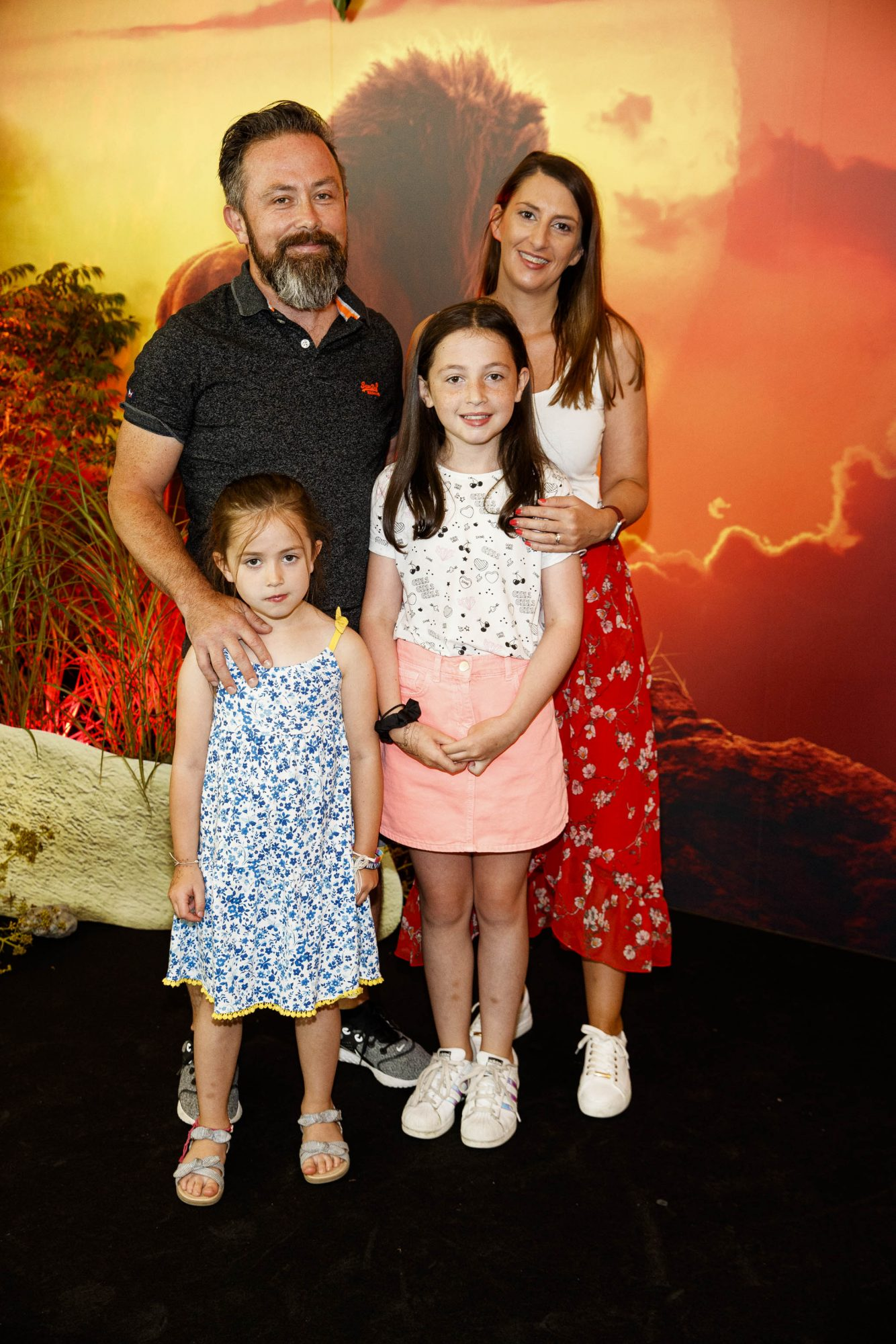 Derek and Catherine Heffernan with Emily (6) and Amy (10) at a special family screening of Disney's THE LION KING at the Odeon Point Village. Picture Andres Poveda