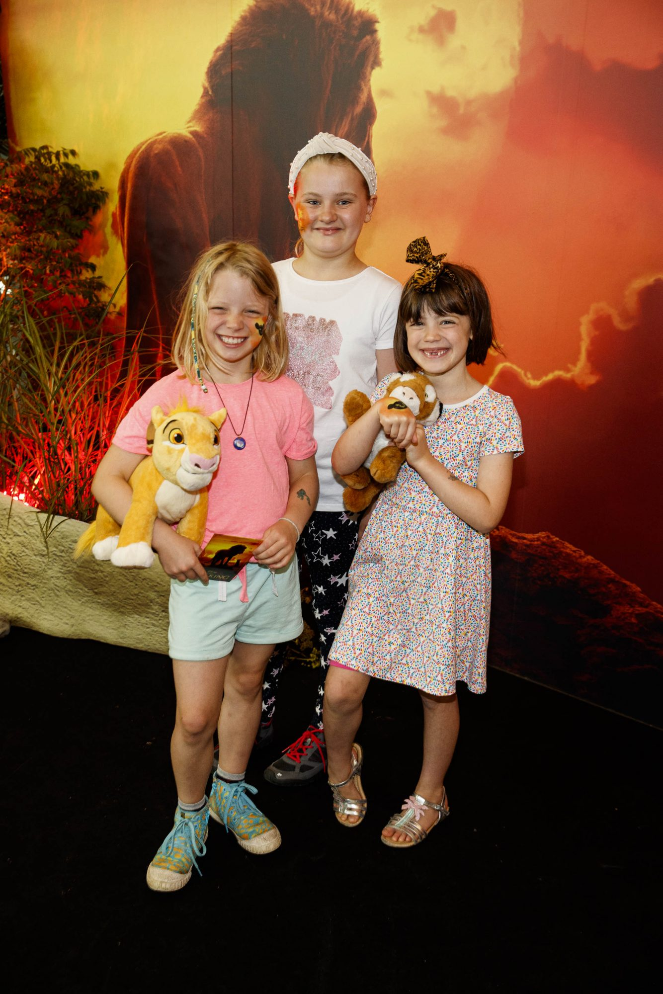 Amy Carswell (9), Lucy McFeely (10) Kate Carswell (7) pictured at a special family screening of Disney's THE LION KING at the Odeon Point Village. Picture: Andres Poveda