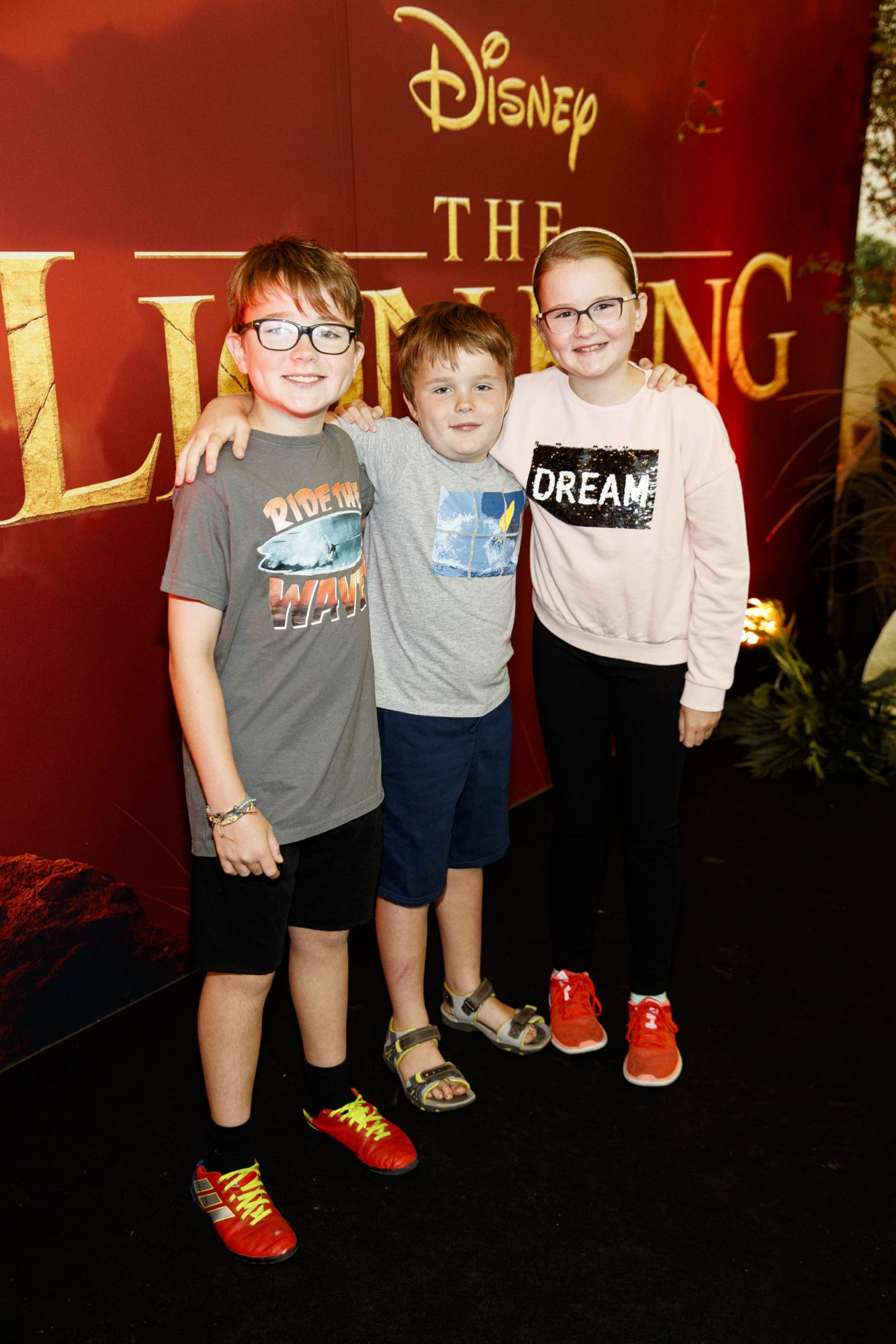 Max  (10), Finn (7) and Ella Lissek (11)  pictured at a special family screening of Disney's THE LION KING at the Odeon Point Village. Picture: Andres Poveda