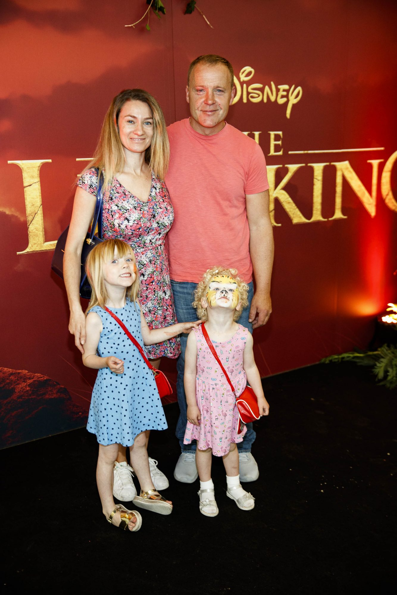 Claire O'Keefe and Patrick McAuley with Eeva (5) and Alba (3) at a special family screening of Disney's THE LION KING at the Odeon Point Village. Picture: Andres Poveda