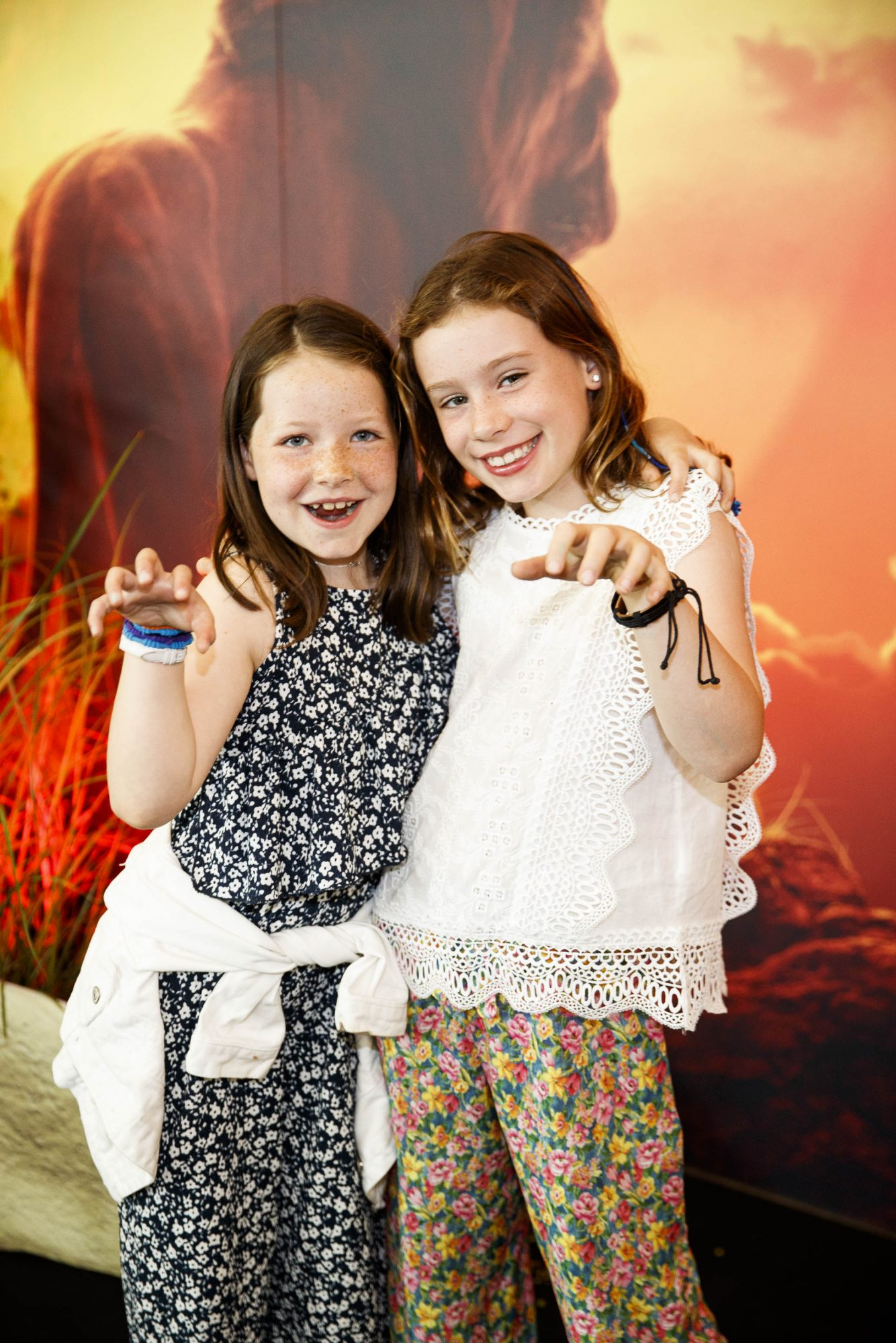 Lauren Agnew (8) and Cate Collenette (9) pictured at a special family screening of Disney's THE LION KING at the Odeon Point Village. Picture Andres Poveda