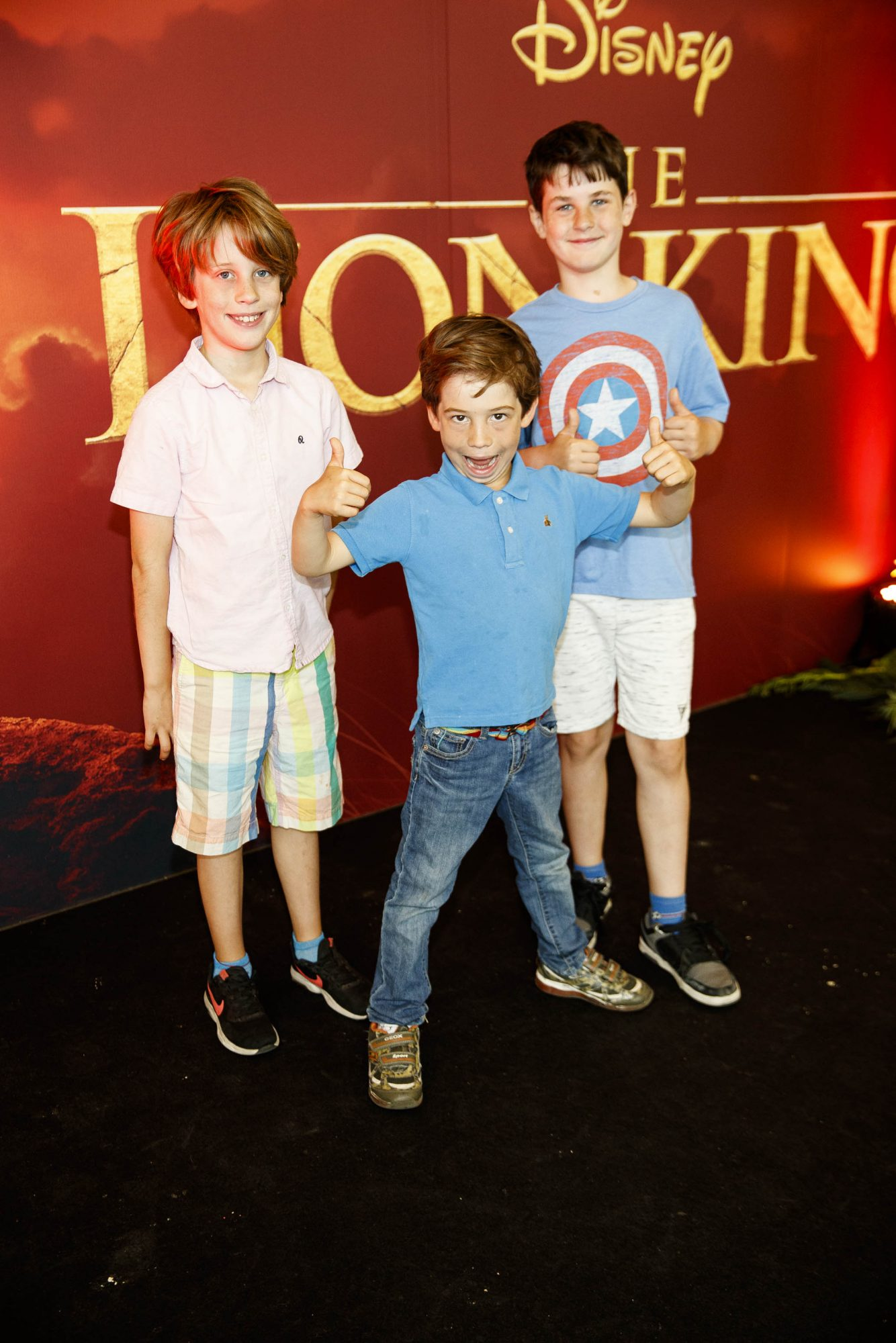 Arlo (9),  Casper (7) and Oscar (9) pictured at a  screening of Disney's THE LION KING at the Odeon Point Village. Picture Andres Poveda