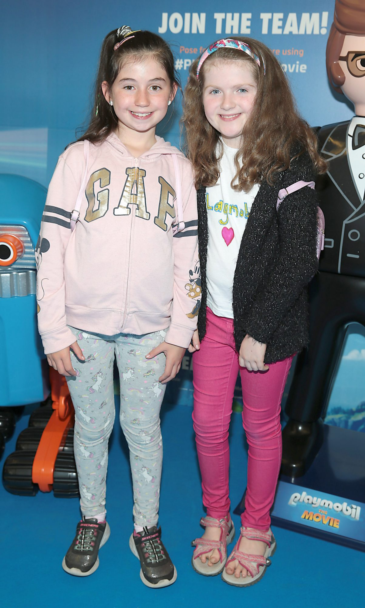 Rosie Cudden and Susie McAdam at the special preview screening of Playmobil : The Movie. Photo: Brian McEvoy