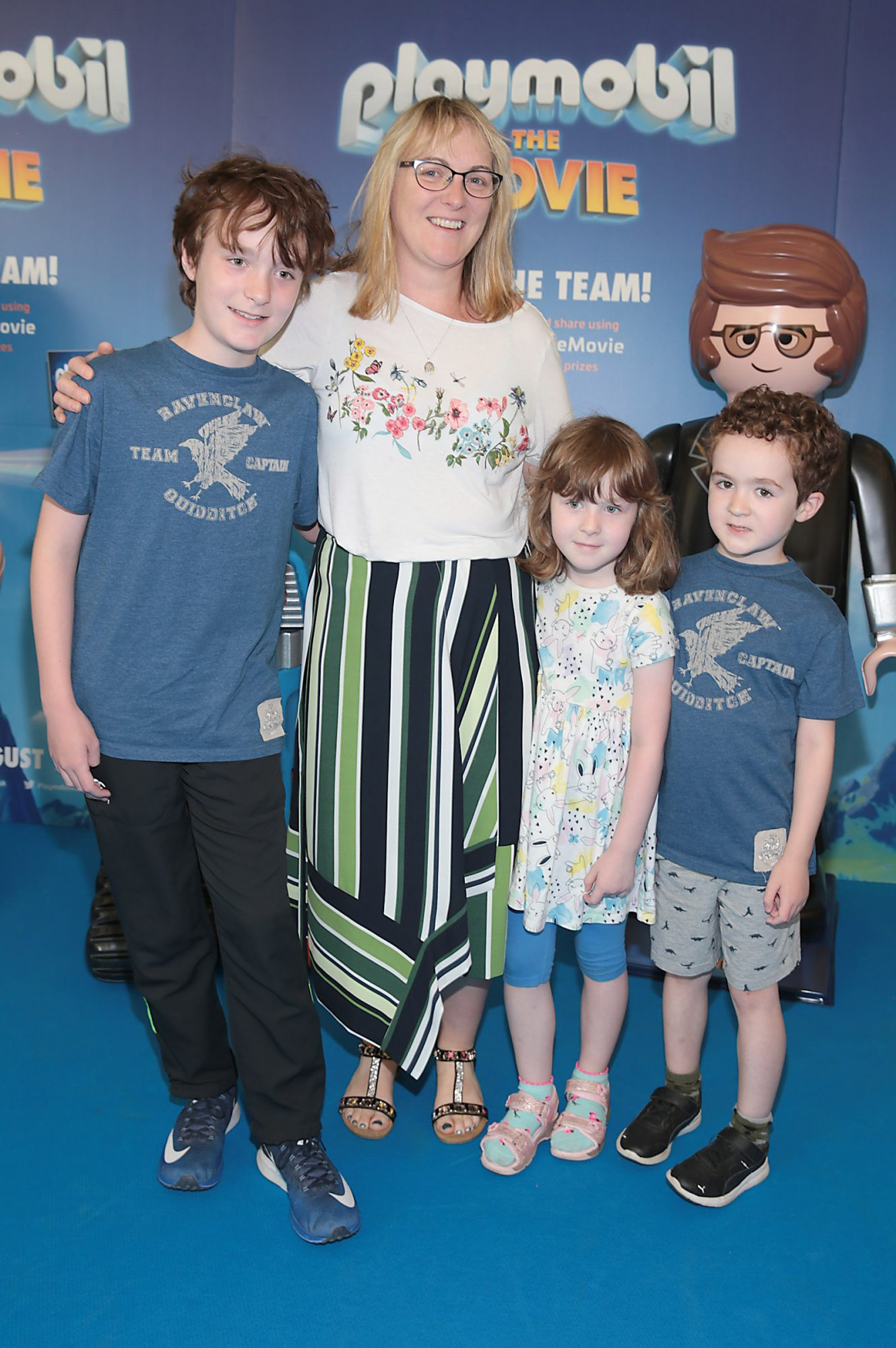 Maria Duffy with luke Duffy,Molly Duffy and Ben Duffy at the special preview screening of Playmobil : The Movie. Photo: Brian McEvoy
