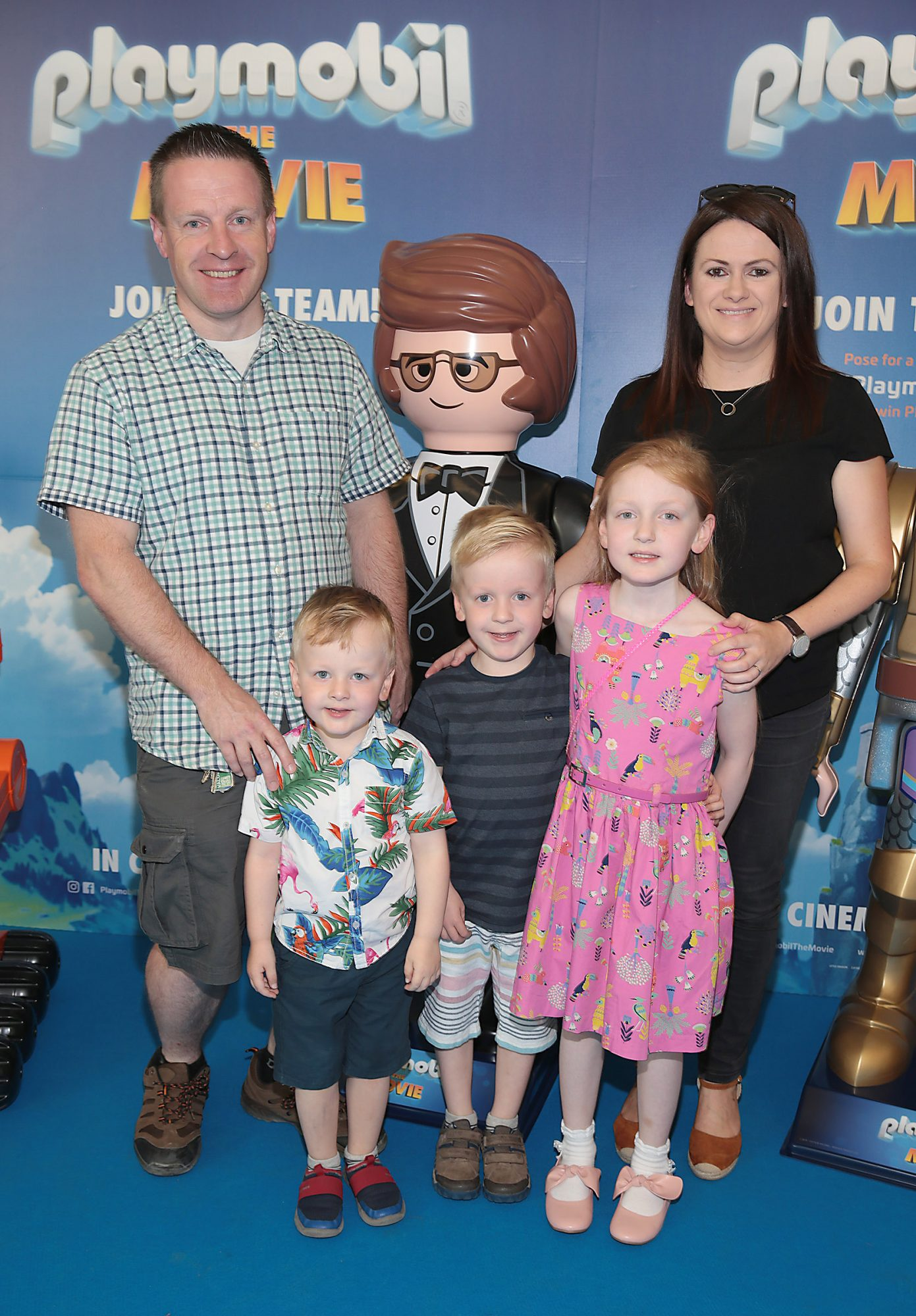 David Hughes ,Sarah Jane Hughes with children James Hughes, Rachel Hughes and  Tom Hughes  at the special preview screening of Playmobil : The Movie. Photo: Brian McEvoy