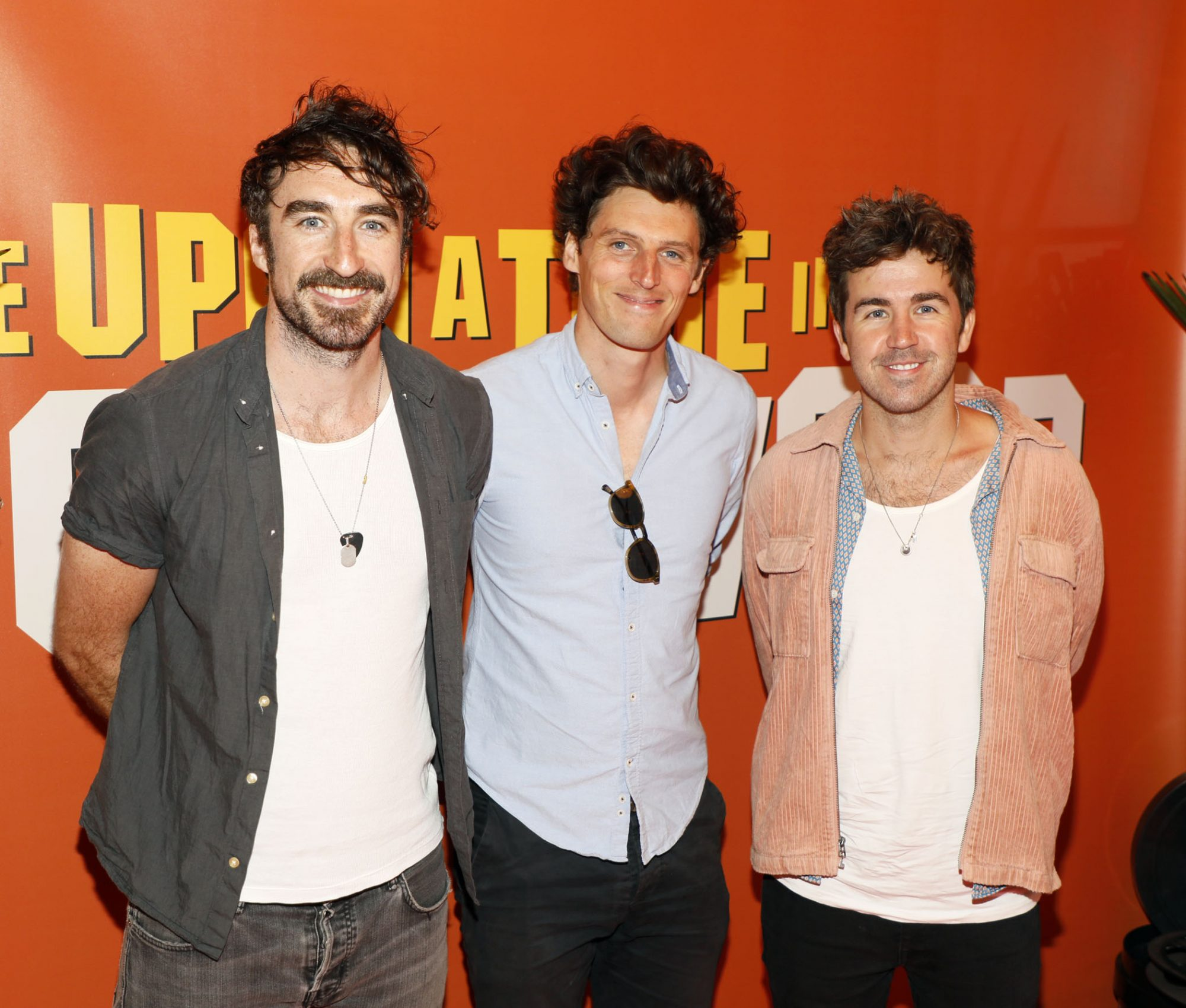 Danny O'Reilly, Dave McPhilips and Graham Knox from the Coronas at the Multimedia Screening of Once Upon A Time In Hollywood at the Stella Theatre, Rathmines, in cinema August 14th. Photo: Kieran Harnett