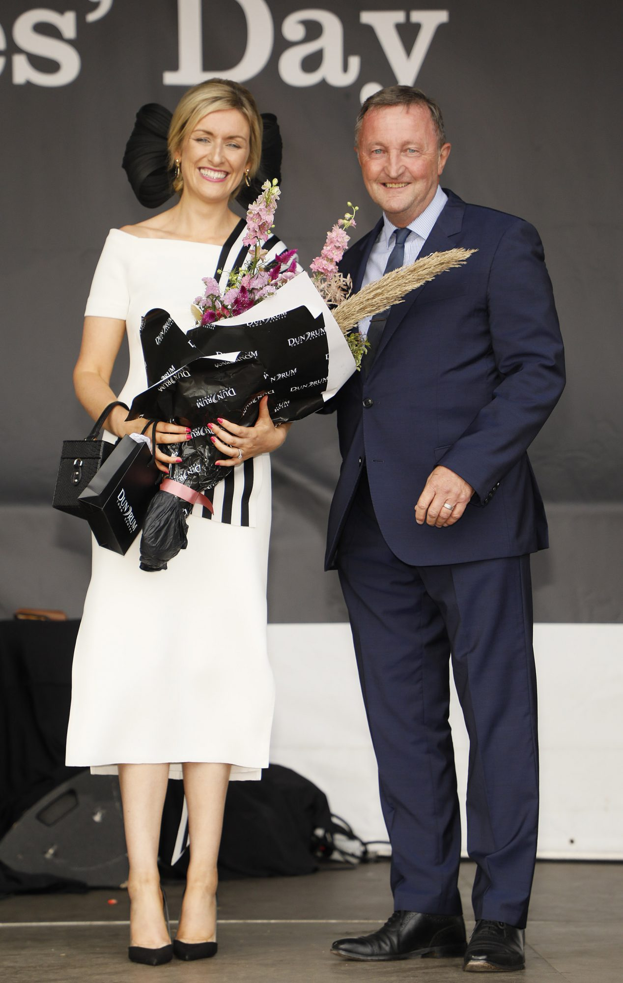 Anne Marie Dunning from Newbridge, Co. Kildare winner of Best Dressed Lady at Dundrum Town Centre Ladies' Day with Don Nugent at the Dublin Horse Show in the RDS, who walked away with a €10,000 gift card for Dundrum Town Centre. Photo: Kieran Harnett
