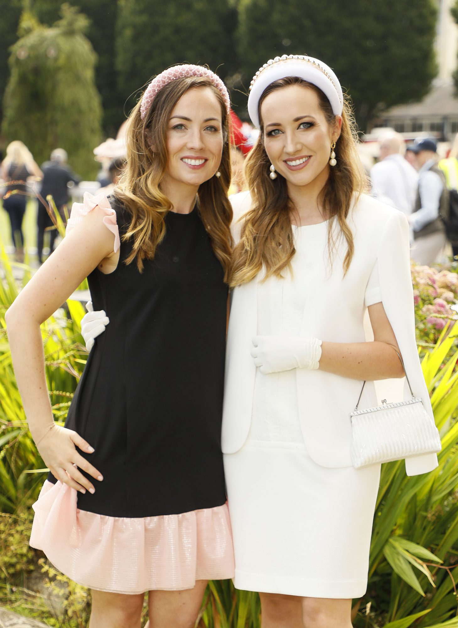 Anne Marie Scully and Noelle Sorohan at the Dundrum Town Centre Ladies' Day at the Dublin Horse Show in the RDS. Photo: Kieran Harnett