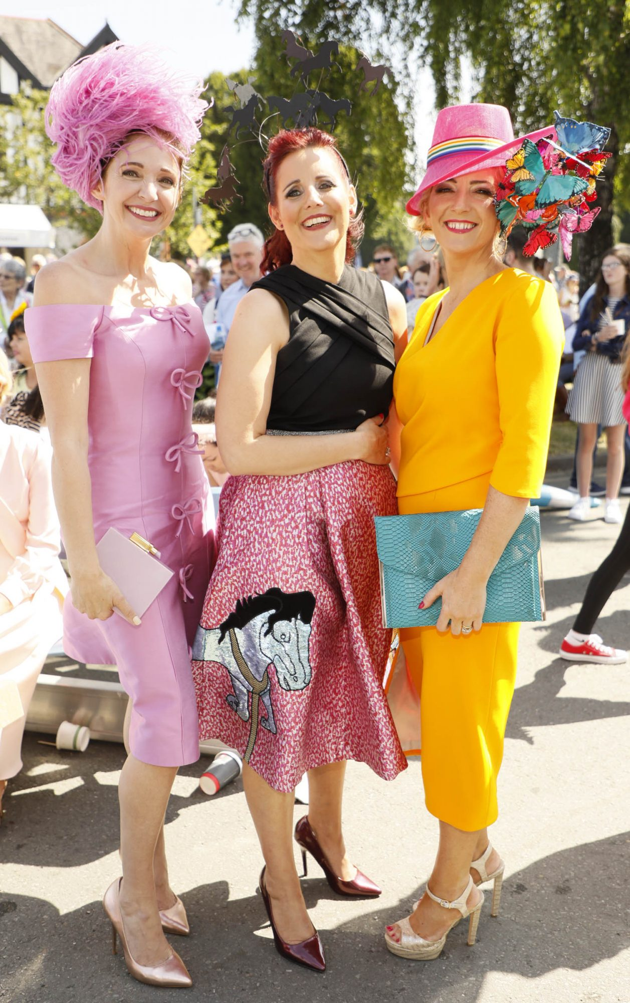 Carol Kennelly, Joanne Murphy and Elaine Kelleher at the Dundrum Town Centre Ladies' Day at the Dublin Horse Show in the RDS. Photo: Kieran Harnett