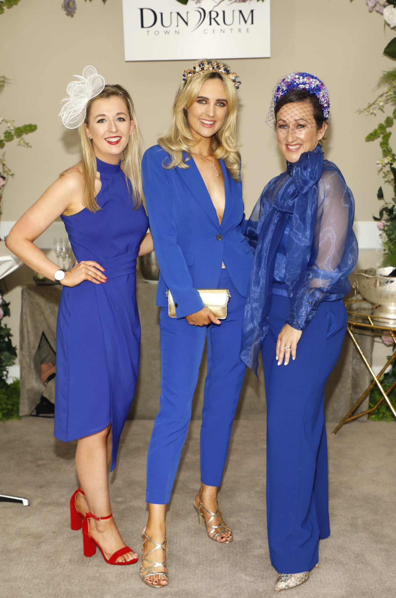 Laura Clifford, Lorna Duffy and Fiona Hayes at the Dundrum Town Centre Ladies' Day at the Dublin Horse Show in the RDS. Photo: Kieran Harnett