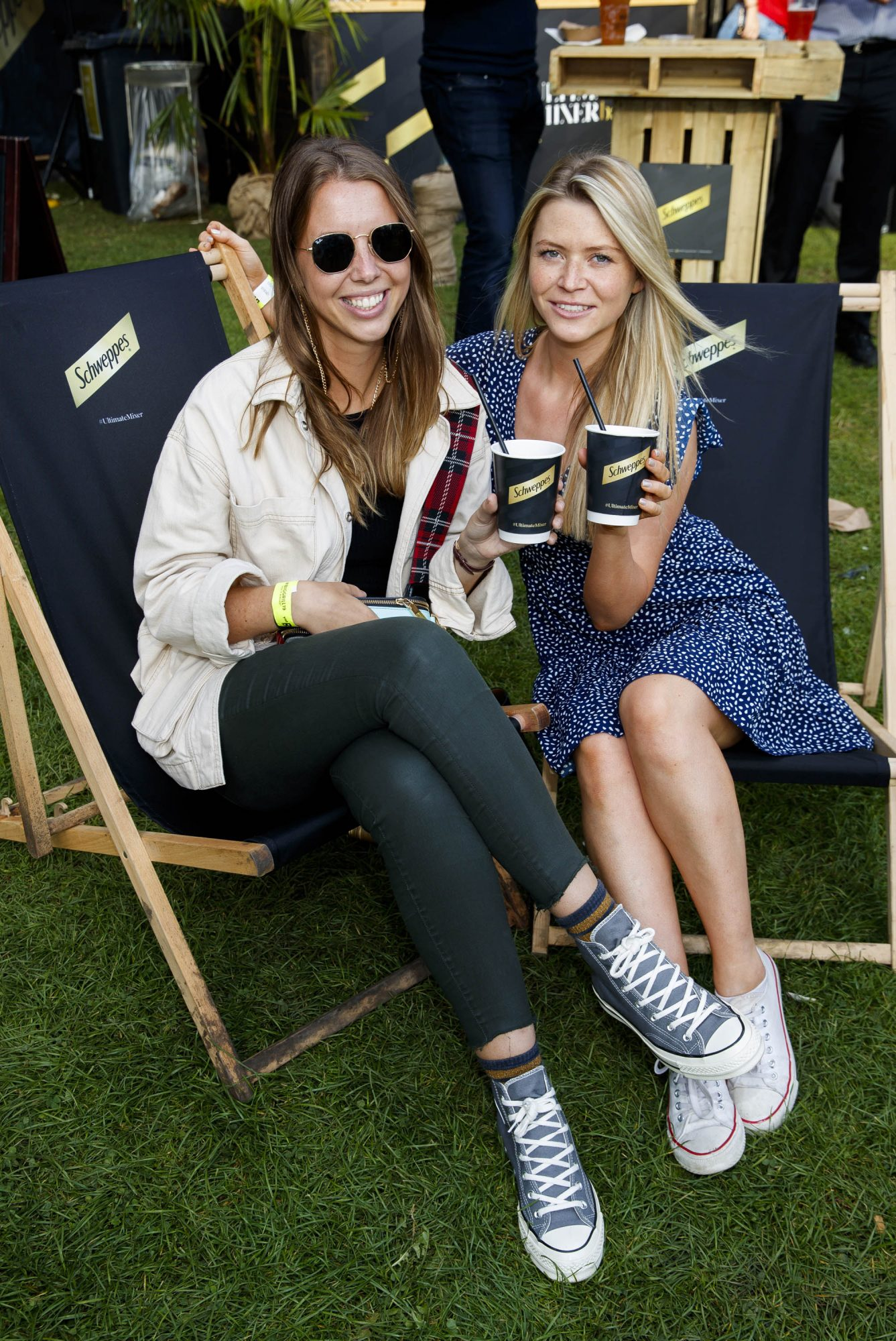 Sarah Manley and Rebecca Humphreys at the Schweppes #UltimateMixer Sessions at The Big Grill festival in Herbert Park, Dublin, where guests sipped on expertly crafted cocktails and enjoyed live music mixes from Irish bands and DJs. Picture: Andres Poveda