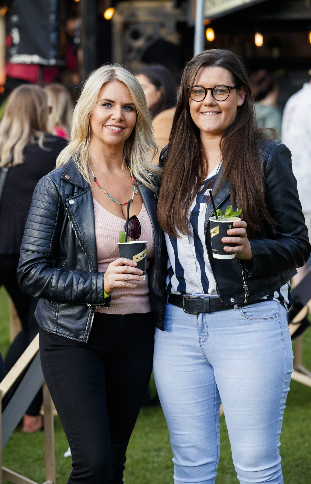 Jules Mahon and Erica Hudson at the Schweppes #UltimateMixer Sessions at The Big Grill festival in Herbert Park, Dublin, where guests sipped on expertly crafted cocktails and enjoyed live music mixes from Irish bands and DJs. Picture: Andres Poveda