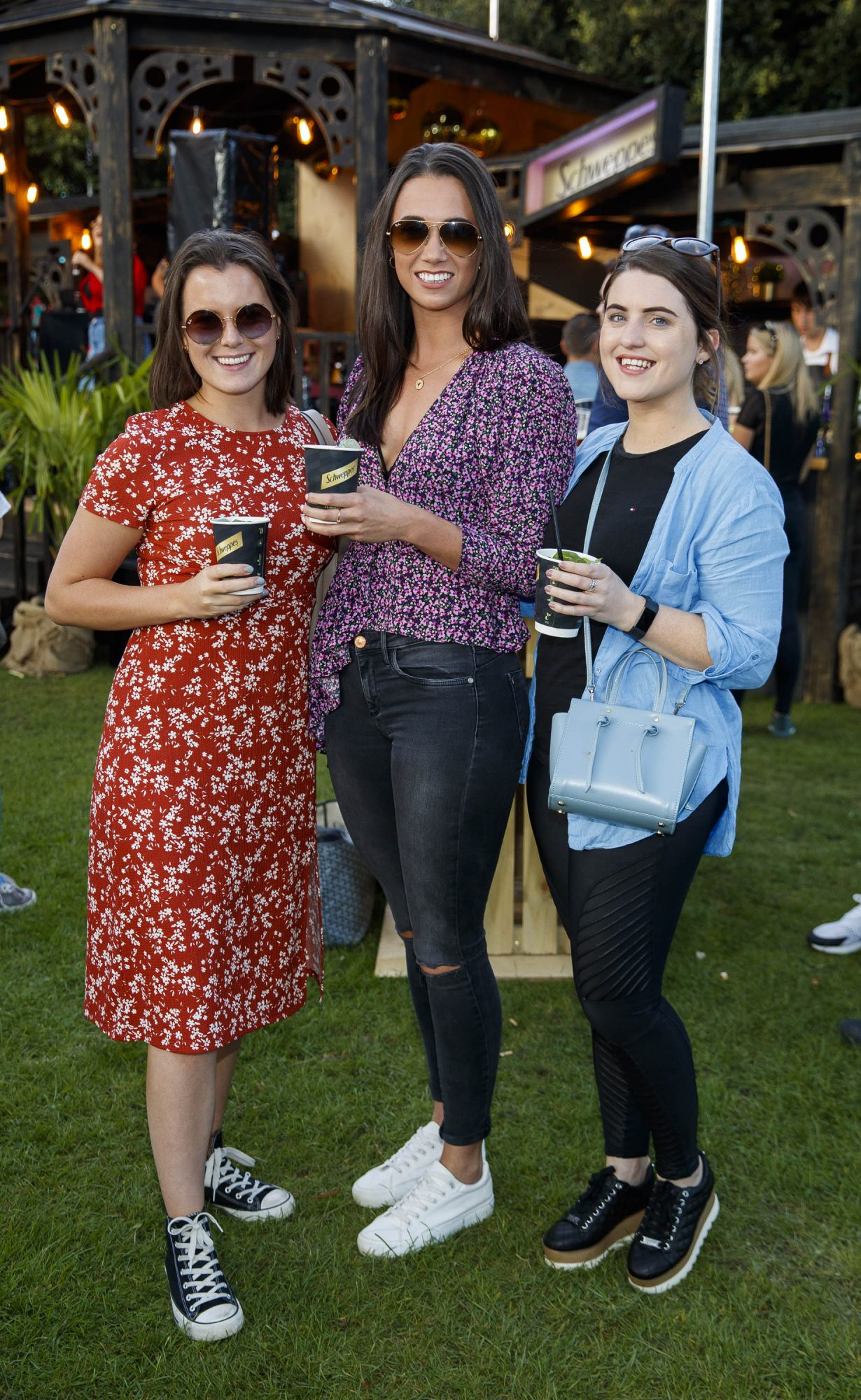 Aoife Ryan , Ruth McKay and Roisin Kane at the Schweppes #UltimateMixer Sessions at The Big Grill festival in Herbert Park, Dublin, where guests sipped on expertly crafted cocktails and enjoyed live music mixes from Irish bands and DJs. Picture: Andres Poveda