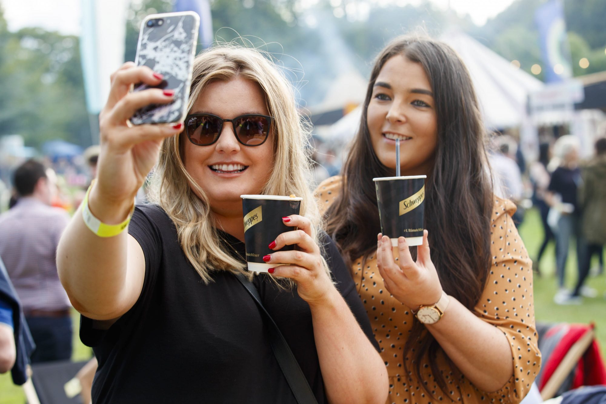 Laura Ryan and Jennifer Carbury at the Schweppes #UltimateMixer Sessions at The Big Grill festival in Herbert Park, Dublin, where guests sipped on expertly crafted cocktails and enjoyed live music mixes from Irish bands and DJs. Picture: Andres Poveda