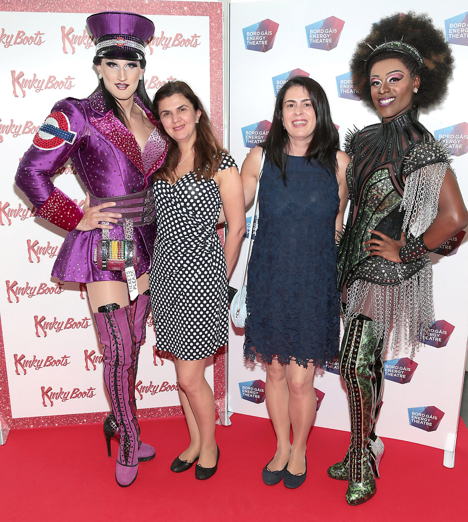 Jason Leigh Winters ,Lumi Vitca, Camelia Tamas and Jacob McIntosh at the opening of the musical Kinky Boots at the Bord Gais Energy Theatre, Dublin.  Picture: Brian McEvoy