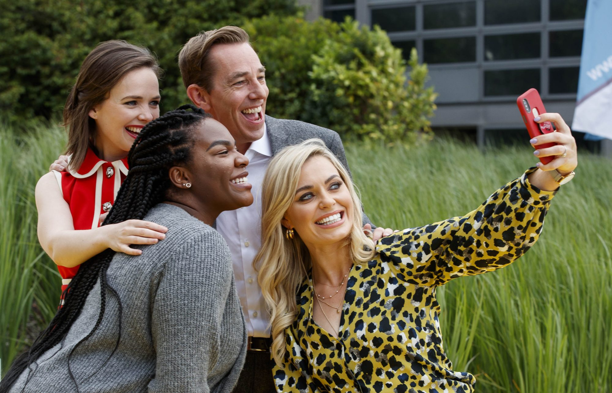 Anna Geary takes a selfie with Ryan Tubridy is Demi Isaac Oviawe of Young Offenders and Eileen O'Higgins, Dead Still as RTÉ today announced a slate of new impactful Irish programming, star signings and a strong focus on climate as part of its upcoming new season. Picture: Andres Poveda