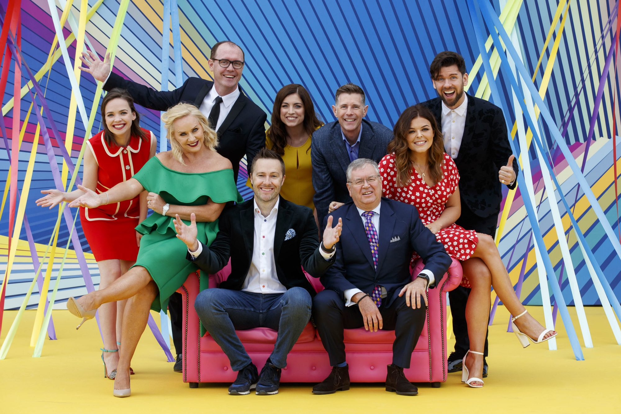 Eileen O'Higgins, Brian Redmond, Joanne Cantwell, Dermot Bannon and Eoghan McDermott with (front) Loraine Barry, Keith Barry and Joe Duffy and Doireann Garrihy as RTÉ today announced a slate of new impactful Irish programming, star signings and a strong focus on climate as part of its upcoming new season. Picture: Andres Poveda