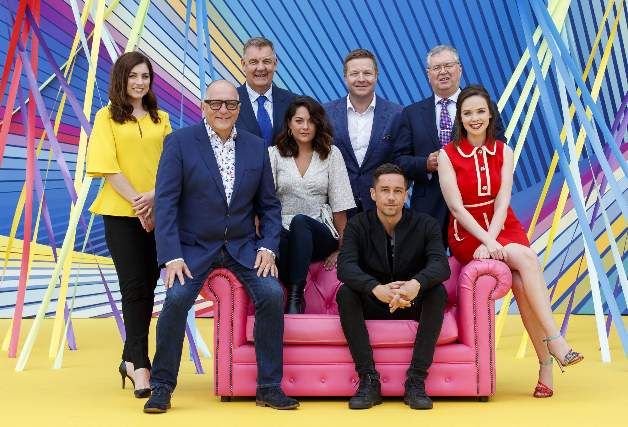 Joanne Cantwell, Hugh Wallace, Bryan Dobson, Sarah Greene, Darragh Maloney, Killian Scott, Joe Duffy and Eileen O'Higgins at RTÉ today announced a slate of new impactful Irish programming, star signings and a strong focus on climate as part of its upcoming new season. Picture: Andres Poveda