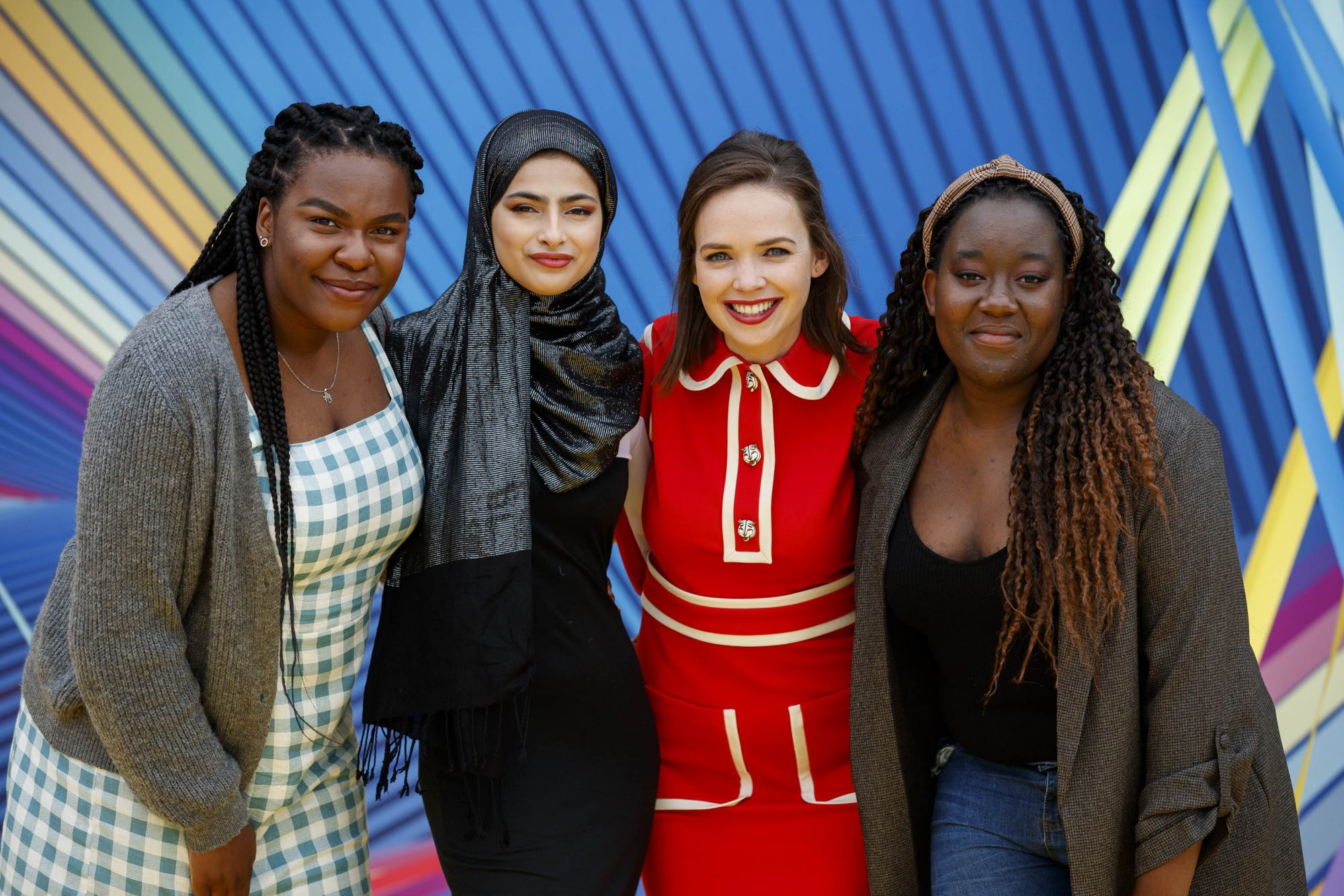 Ryan Tubridy is pictured with Demi Isaac Oviawe (Young Offenders), Minahil Sarfraz (The Teenage Ambassadors), Eileen O'Higgins (Dead Still) and Natasha Maimba (The Teenage Ambassadors) as RTÉ today announced a slate of new impactful Irish programming, star signings and a strong focus on climate as part of its upcoming new season. Picture: Andres Poveda