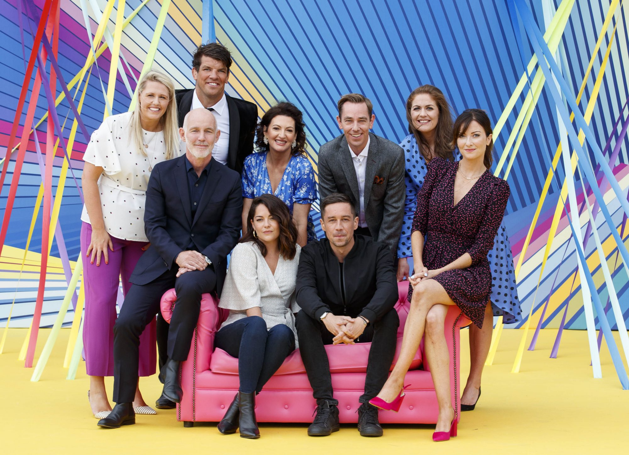 (back) Jacqui Hurley, Donncha O'Callaghan, Maura Derrane, Ryan Tubridy, Fiona Coughlan, (front) Ray D'Arcy, Sarah Greene, Killian Scott, and Jennifer Zamparelli pictured as RTÉ today announced a slate of new impactful Irish programming, star signings and a strong focus on climate as part of its upcoming new season. Picture: Andres Poveda