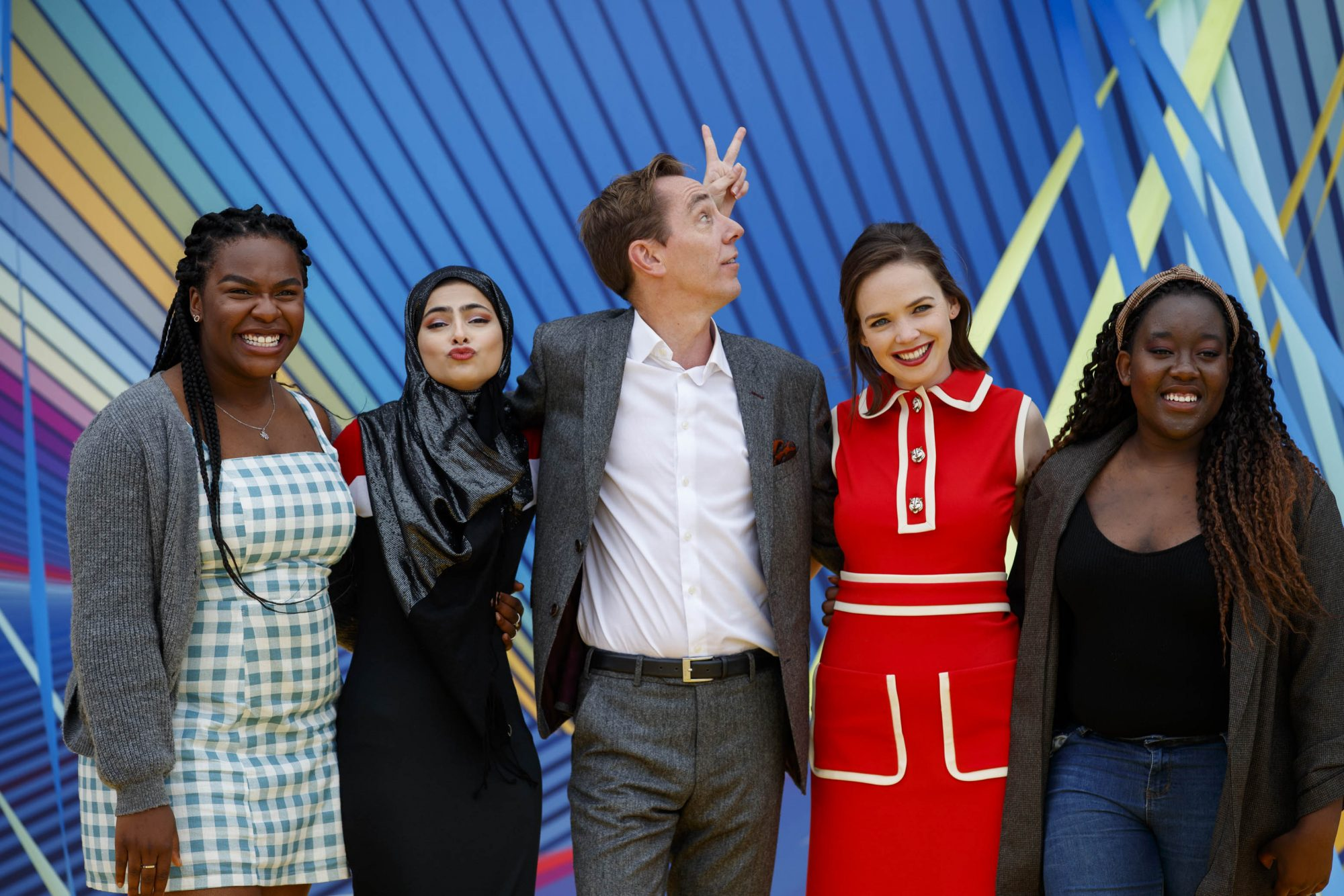 Ryan Tubridy is pictured with Demi Isaac Oviawe of Young Offenders, Minahil Sarfraz (The Teenage Ambassadors), Eileen O'Higgins (Dead Still) and Natasha Maimba (The Teenage Ambassadors) as RTÉ today announced a slate of new impactful Irish programming, star signings and a strong focus on climate as part of its upcoming new season. Picture: Andres Poveda