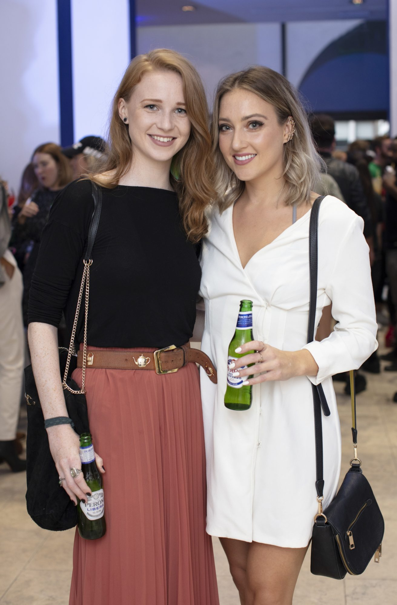 Ellie Cameron & Aoife Noonan pictured at the launch of The House of Peroni, which is open at the RHA in Dublin until Sunday, 1st September 2019. This year's residency sees the RHA transformed into a stylish Peroni inspired experience, filled with food, drink and design. www.thehouseofperoni.com Photo: Anthony Woods.