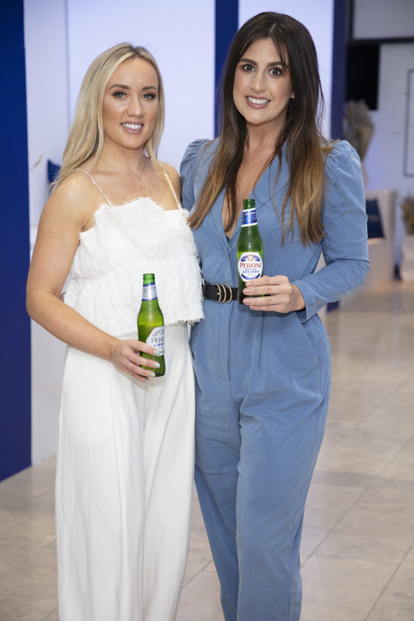 Fiona Stone & Becky Russell pictured at the launch of The House of Peroni, which is open at the RHA in Dublin until Sunday, 1st September 2019. This year's residency sees the RHA transformed into a stylish Peroni inspired experience, filled with food, drink and design. www.thehouseofperoni.com Photo: Anthony Woods.