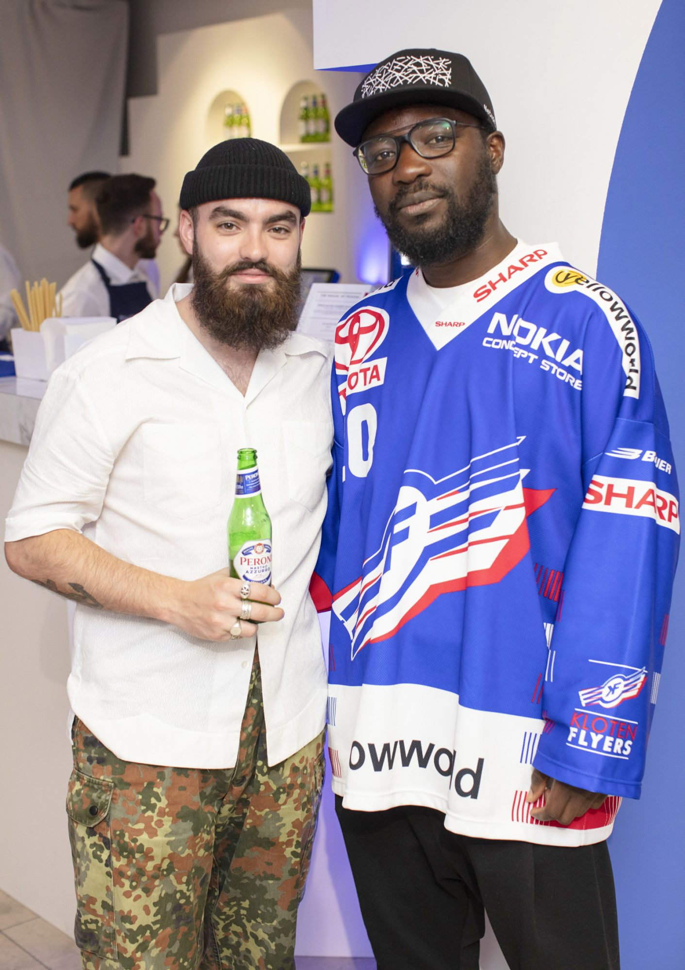Jake McCabe & Timi Ogunyemi pictured at the launch of The House of Peroni, which is open at the RHA in Dublin until Sunday, 1st September 2019. This year's residency sees the RHA transformed into a stylish Peroni inspired experience, filled with food, drink and design. www.thehouseofperoni.com Photo: Anthony Woods.