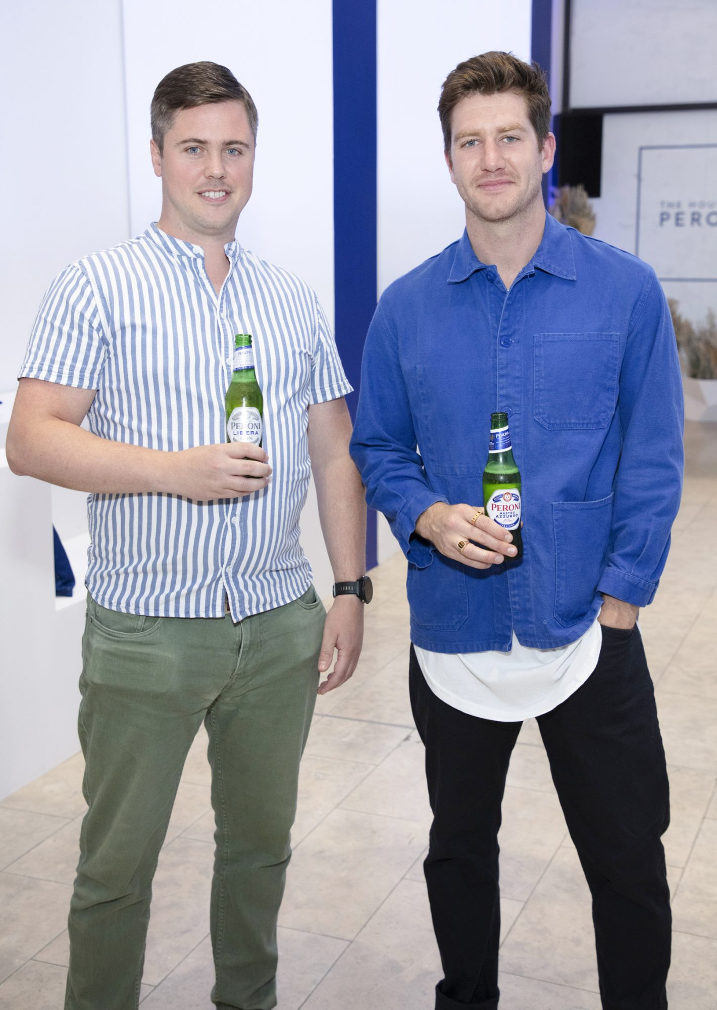 Jeff Brennan & Ciaran Storey pictured at the launch of The House of Peroni, which is open at the RHA in Dublin until Sunday, 1st September 2019. This year's residency sees the RHA transformed into a stylish Peroni inspired experience, filled with food, drink and design. www.thehouseofperoni.com Photo: Anthony Woods.