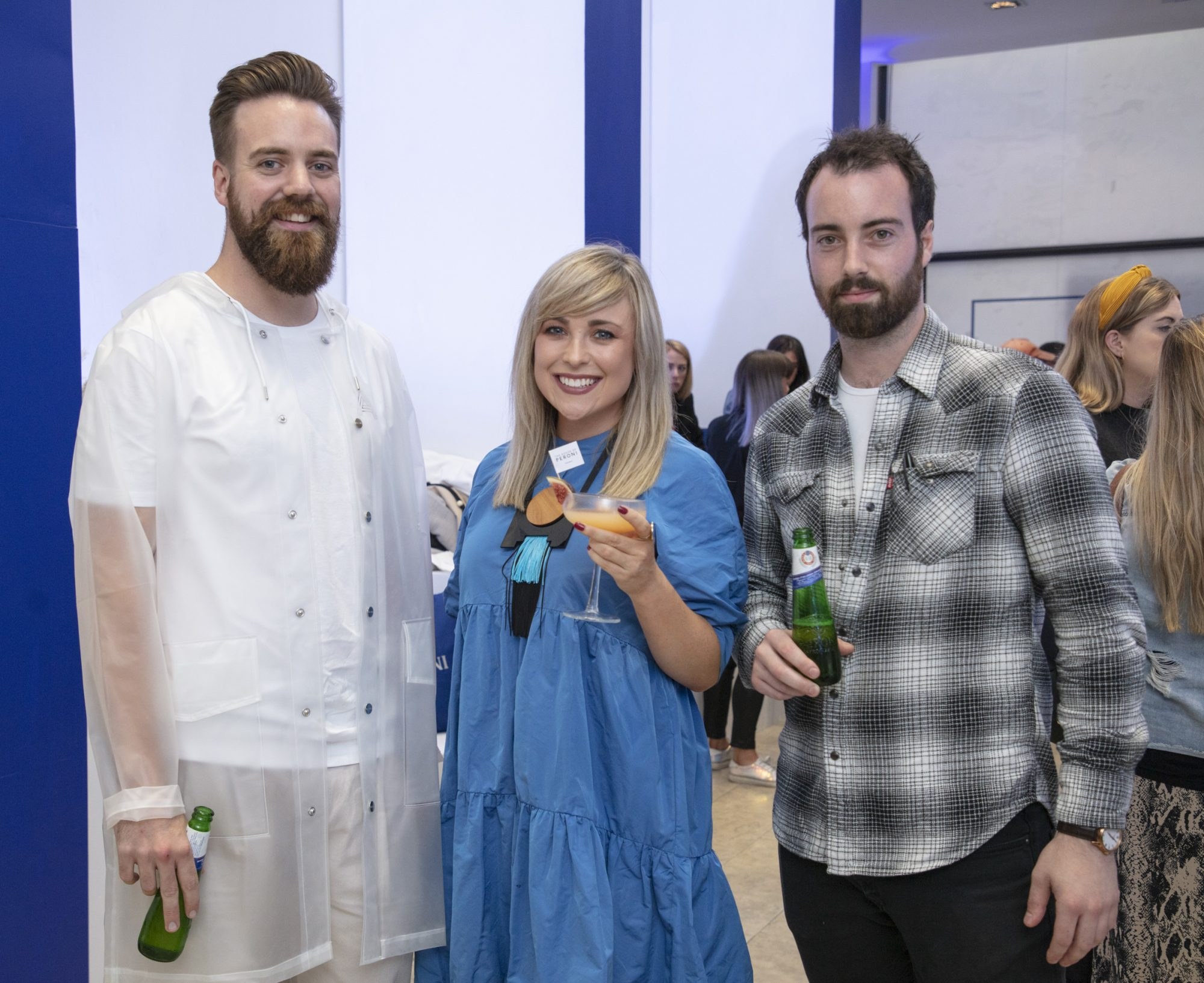 Kev Freeney, Roisin Lafferty & Killian Crowley pictured at the launch of The House of Peroni, which is open at the RHA in Dublin until Sunday, 1st September 2019. This year's residency sees the RHA transformed into a stylish Peroni inspired experience, filled with food, drink and design. www.thehouseofperoni.com Photo: Anthony Woods.