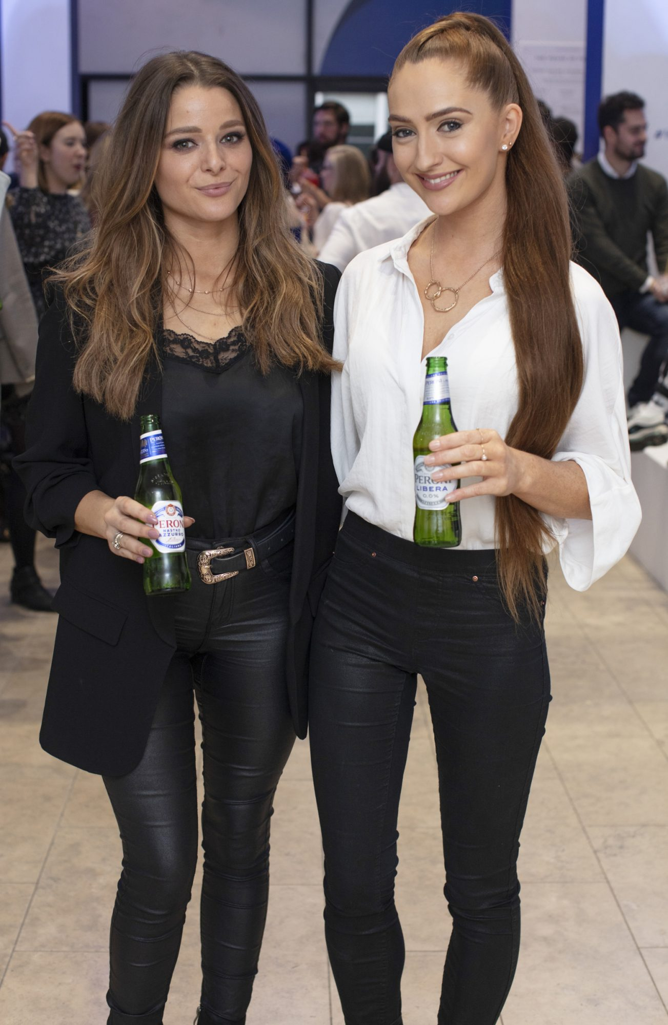 Rebekah Hitchmough & Yve Byrne pictured at the launch of The House of Peroni, which is open at the RHA in Dublin until Sunday, 1st September 2019. This year's residency sees the RHA transformed into a stylish Peroni inspired experience, filled with food, drink and design. www.thehouseofperoni.com Photo: Anthony Woods.