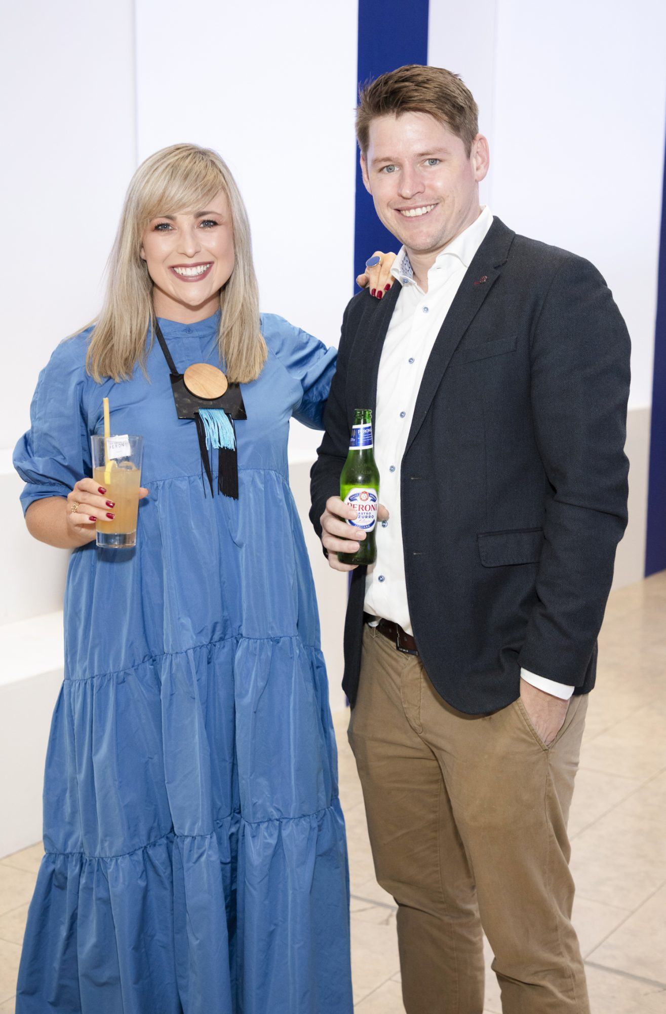 Roisin Lafferty & Niall Daly Lennon pictured at the launch of The House of Peroni, which is open at the RHA in Dublin until Sunday, 1st September 2019. This year's residency sees the RHA transformed into a stylish Peroni inspired experience, filled with food, drink and design. www.thehouseofperoni.com Photo: Anthony Woods.