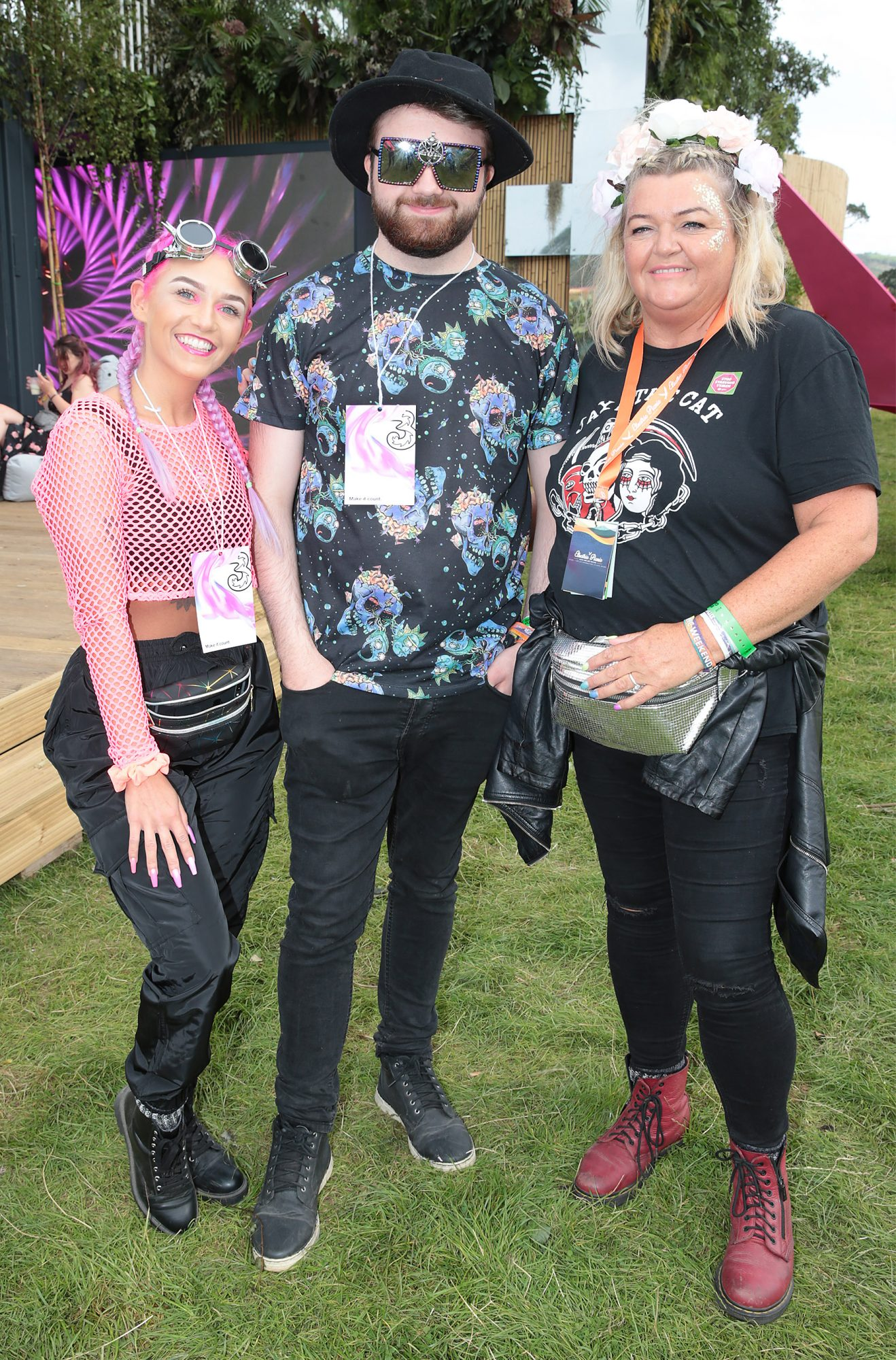 Sarah Farrell, Shea McDonald and Cat Coogan at Three's Charge & Chill at Electric Picnic at Stradbally, Co. Laois. Picture: Brian McEvoyNo Repro fee for one use