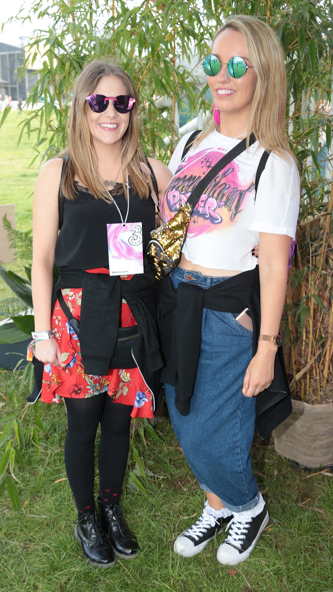 Kayleigh McDonald and Melissa Byrne at Three's Charge & Chill at Electric Picnic at Stradbally, Co. Laois. Picture: Brian McEvoyNo Repro fee for one use